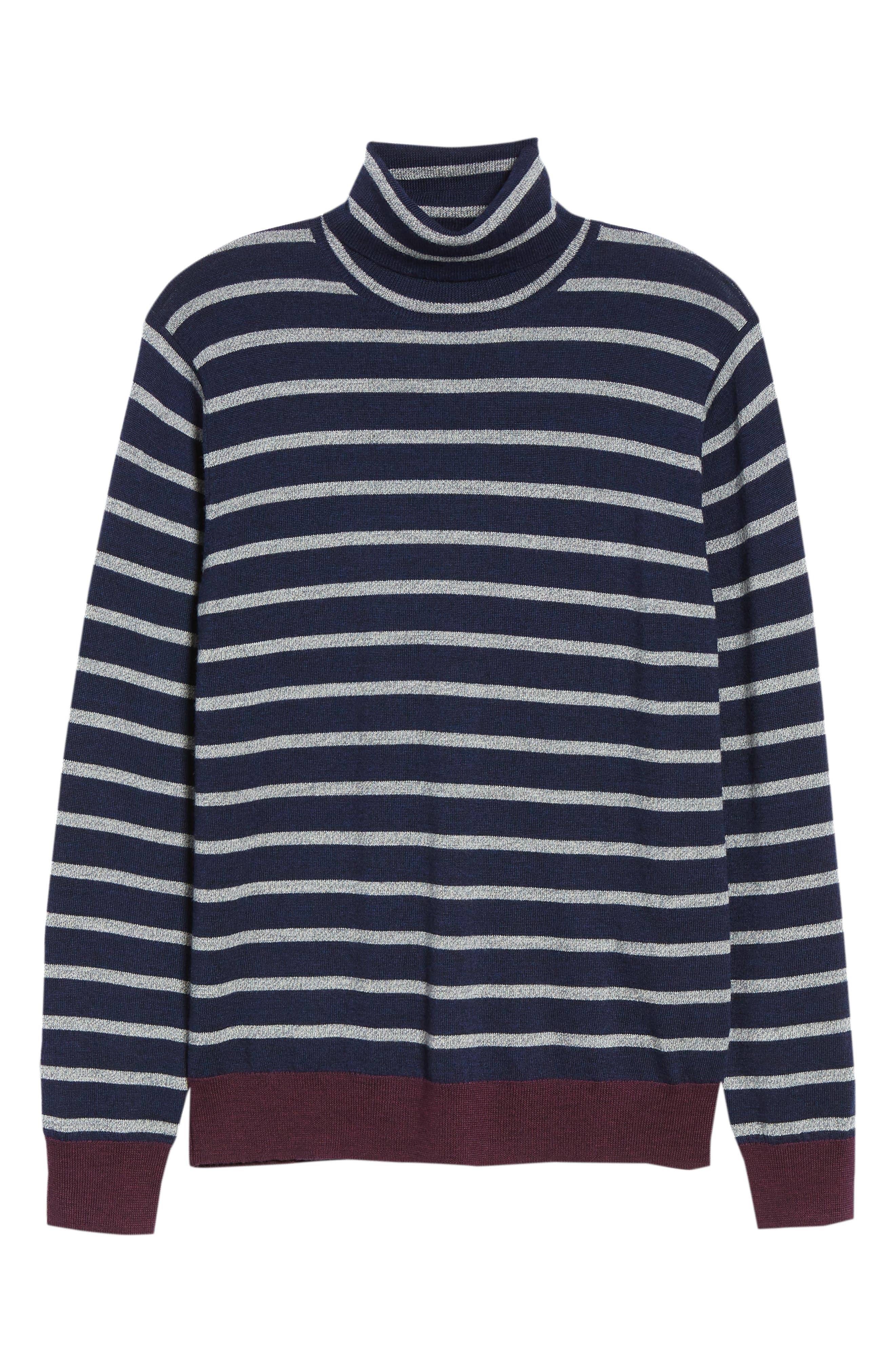 Slim Fit Turtleneck Merino Wool Sweater,                             Alternate thumbnail 6, color,                             HEATHER INK/ COOL GREY
