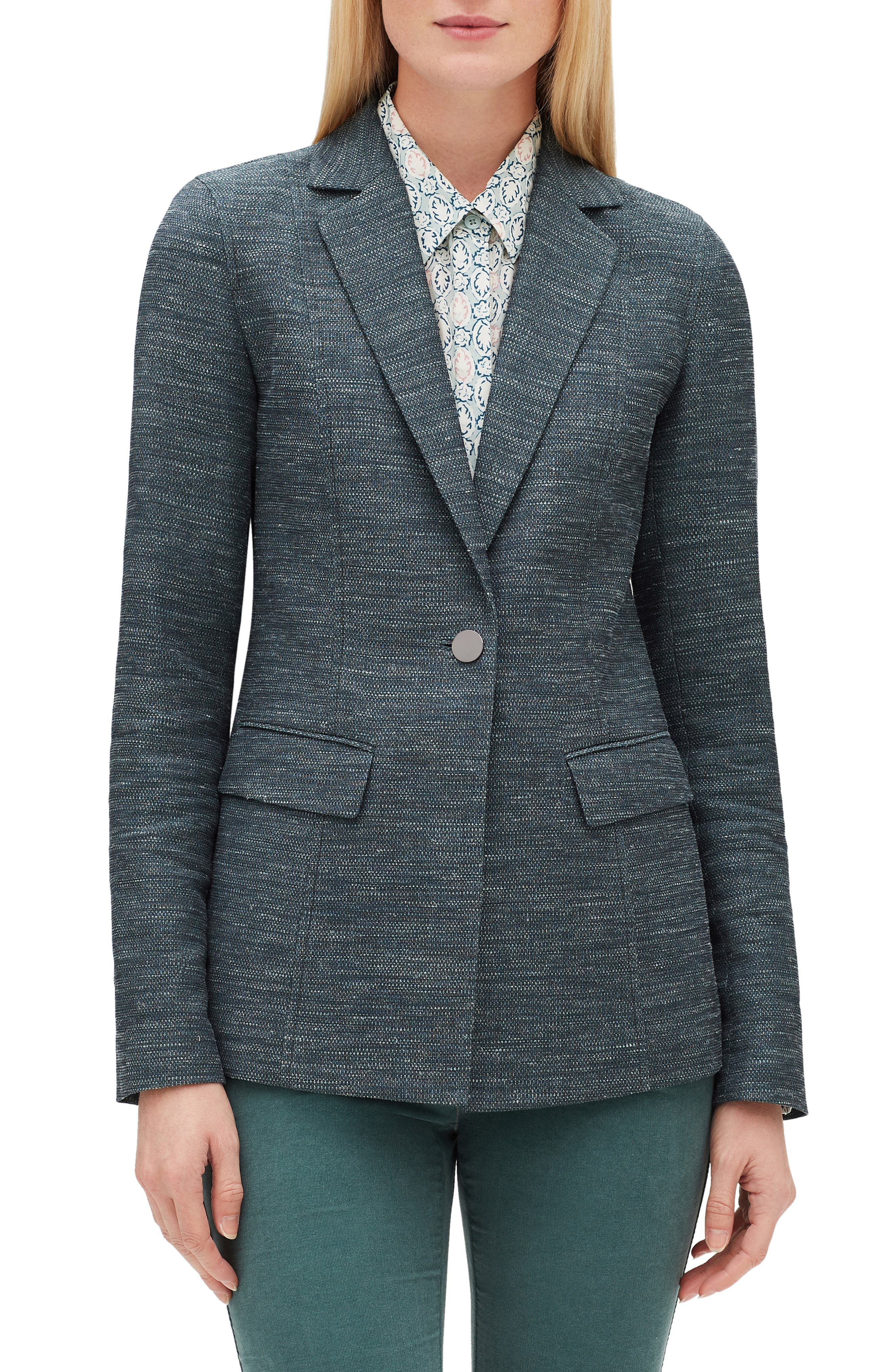Marris Mayfair Weave Jacket,                             Main thumbnail 1, color,                             EMPRESS TEAL MULTI