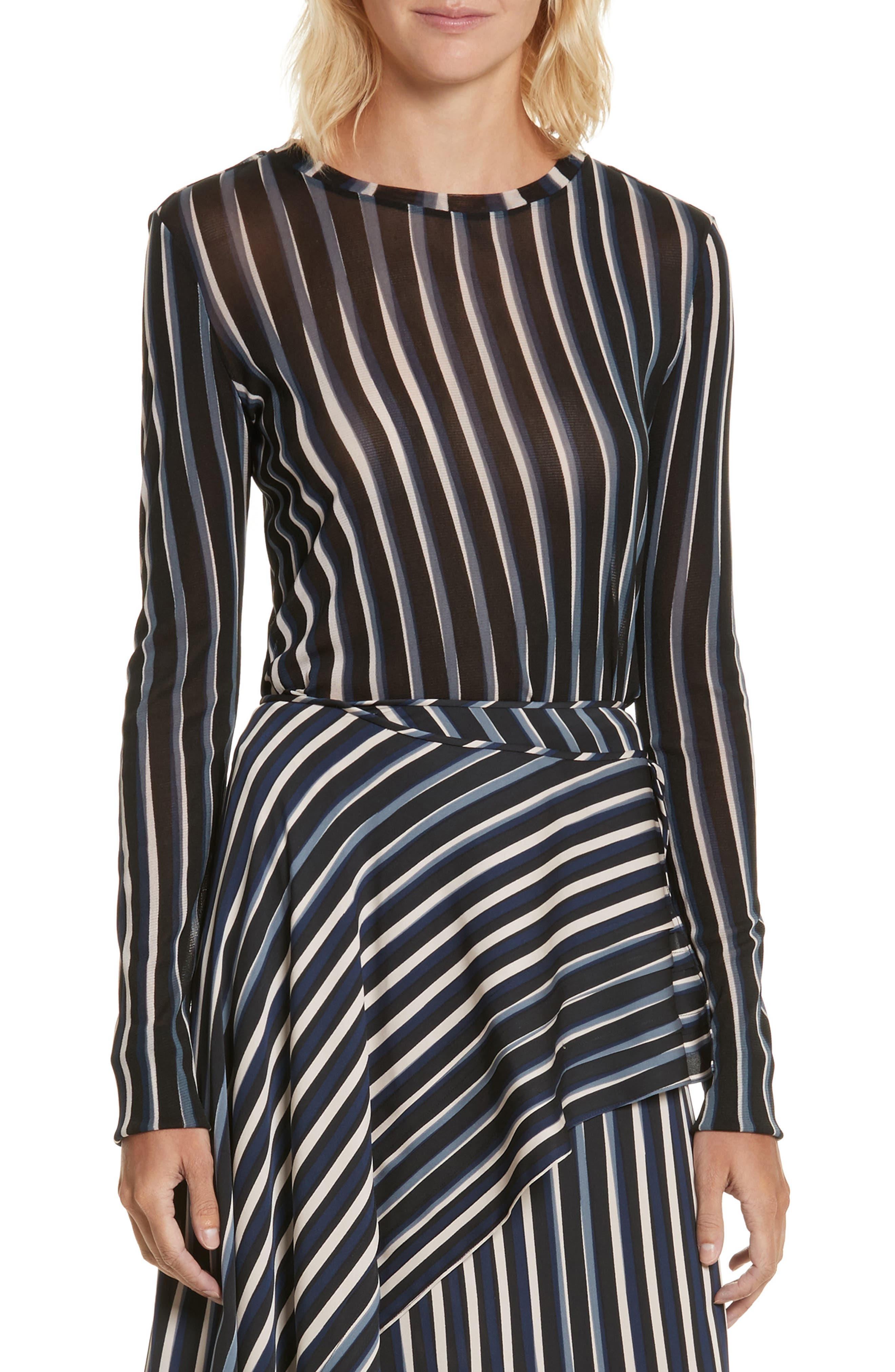 Diane von Furstenberg Fitted Print Top,                             Main thumbnail 1, color,                             004