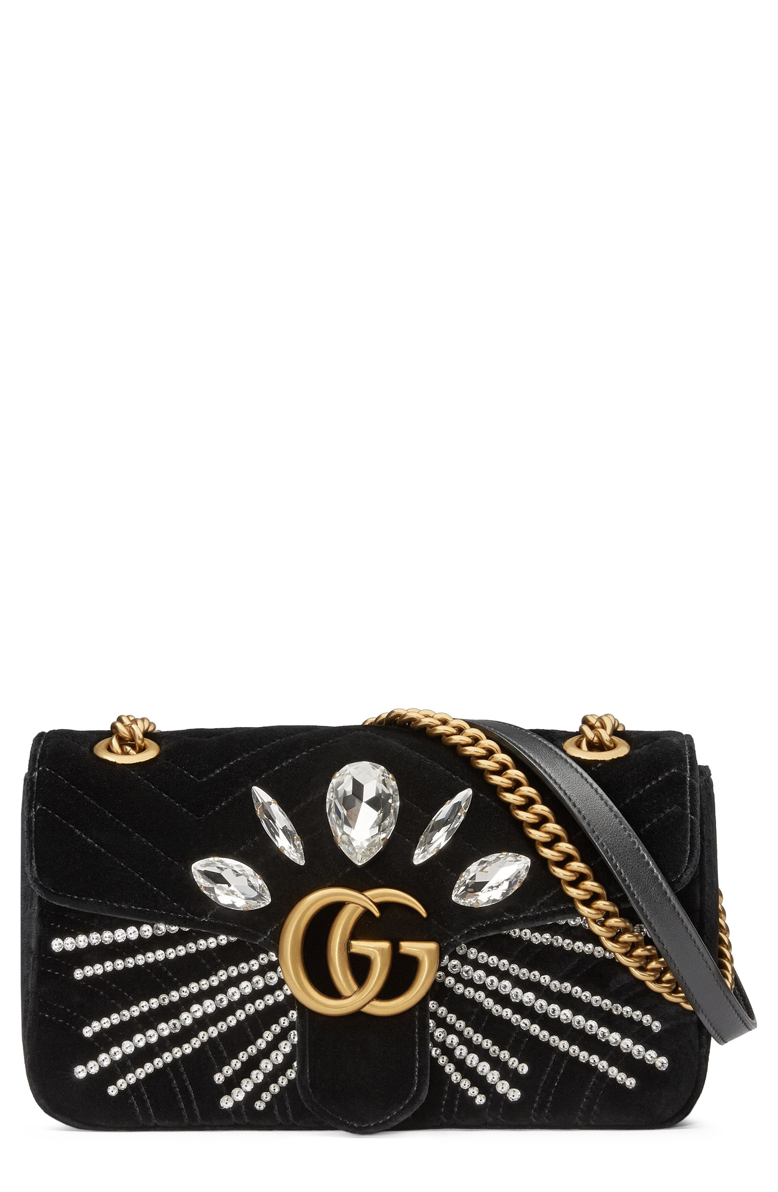 GG Marmont 2.0 Crystal Embellished Velvet Crossbody Bag,                             Main thumbnail 1, color,                             NERO/ CRYSTAL