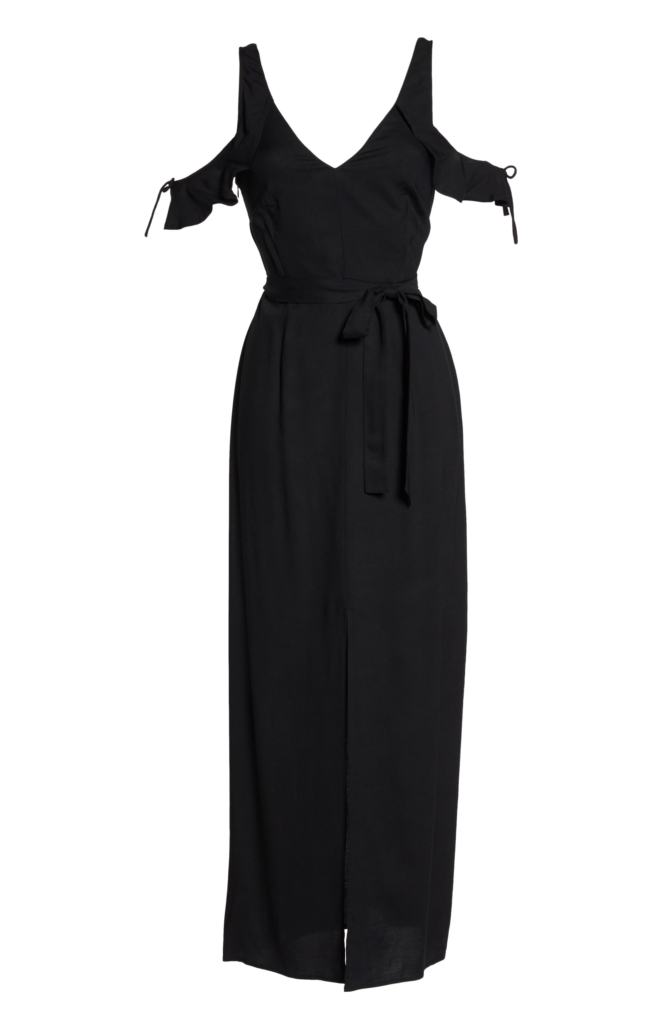 Lystra Cold Shoulder Maxi Dress,                             Alternate thumbnail 7, color,                             001
