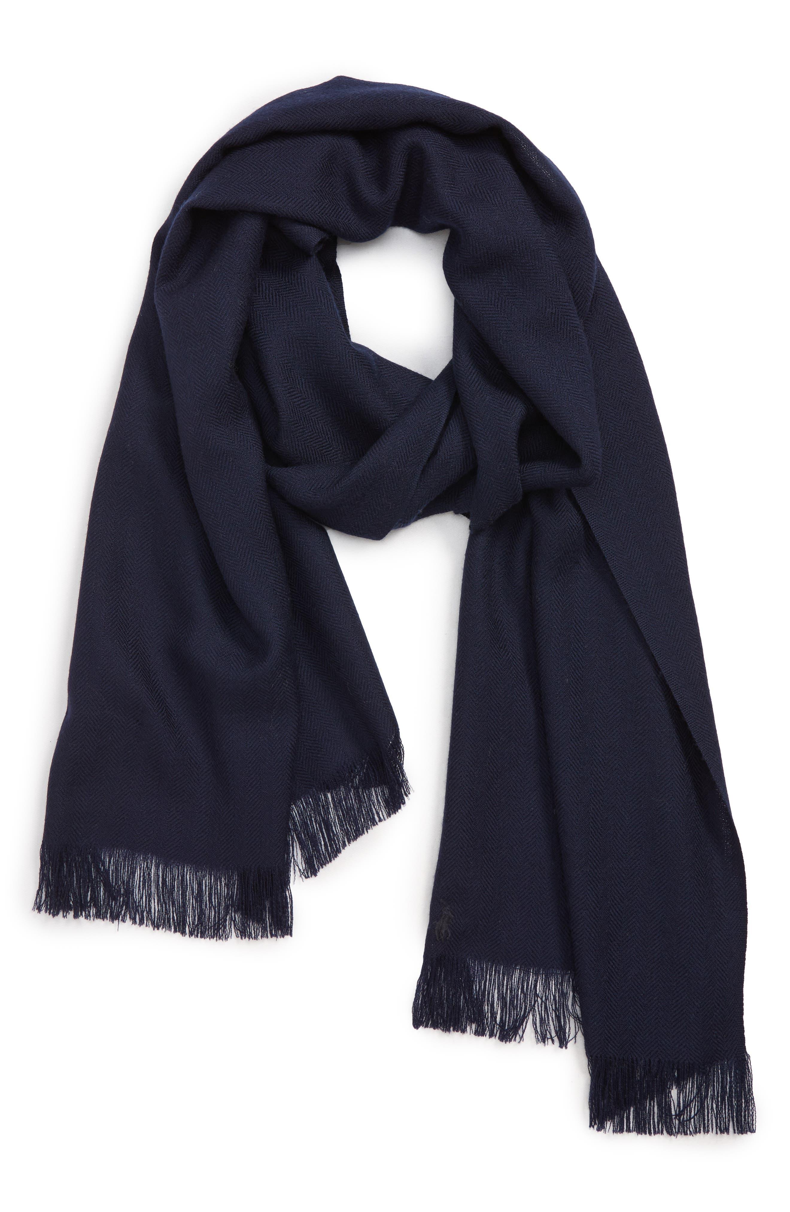 Patterned Merino Wool Scarf,                         Main,                         color, NAVY HERRINGBONE