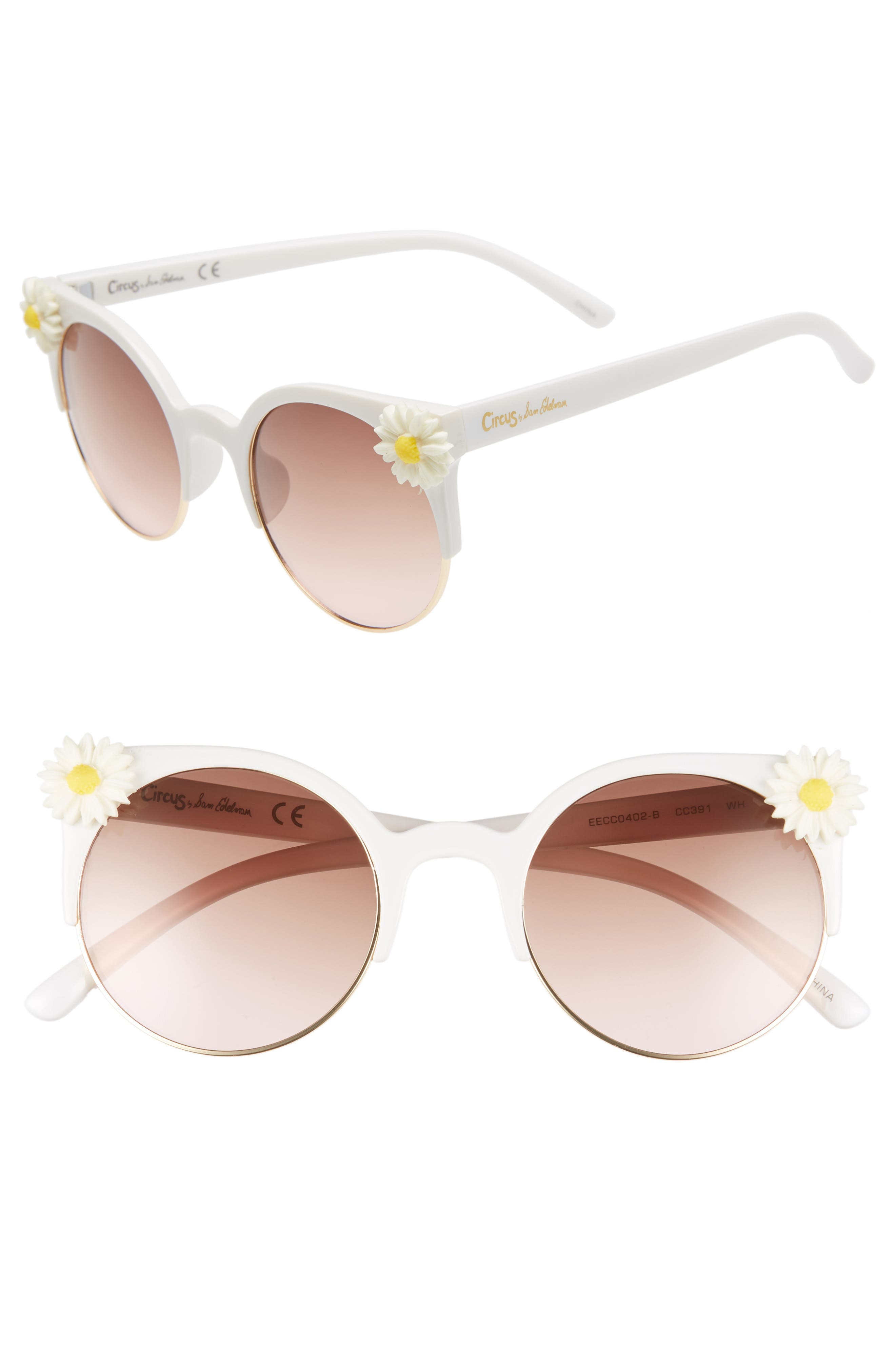 CIRCUS BY SAM EDELMAN 50Mm Daisy Accent Round Sunglasses - White/ Pink Lens