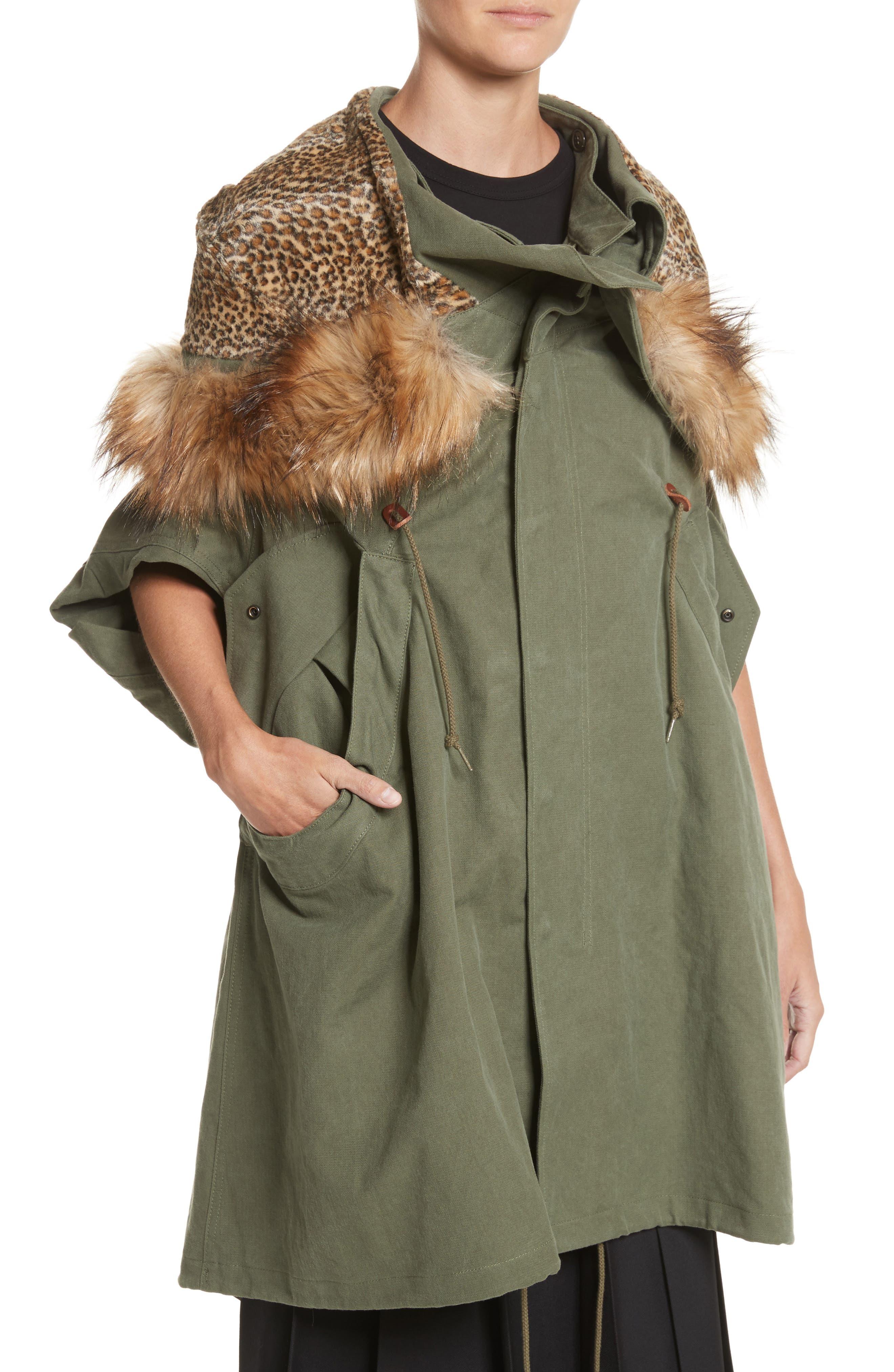 Army Coat with Cheetah Faux Fur Hood,                             Alternate thumbnail 4, color,                             340
