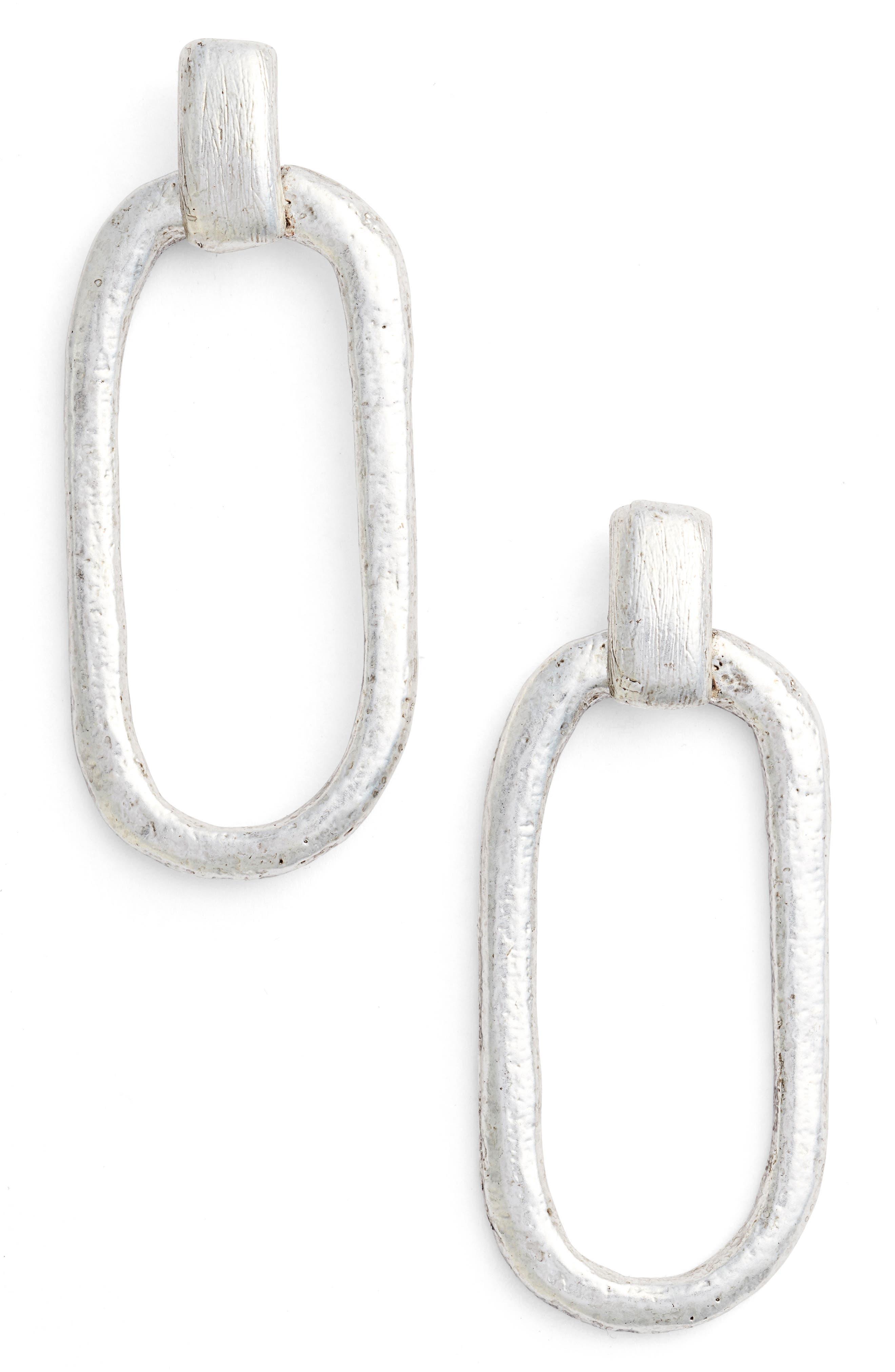 Doorknocker Earrings,                         Main,                         color, SILVER
