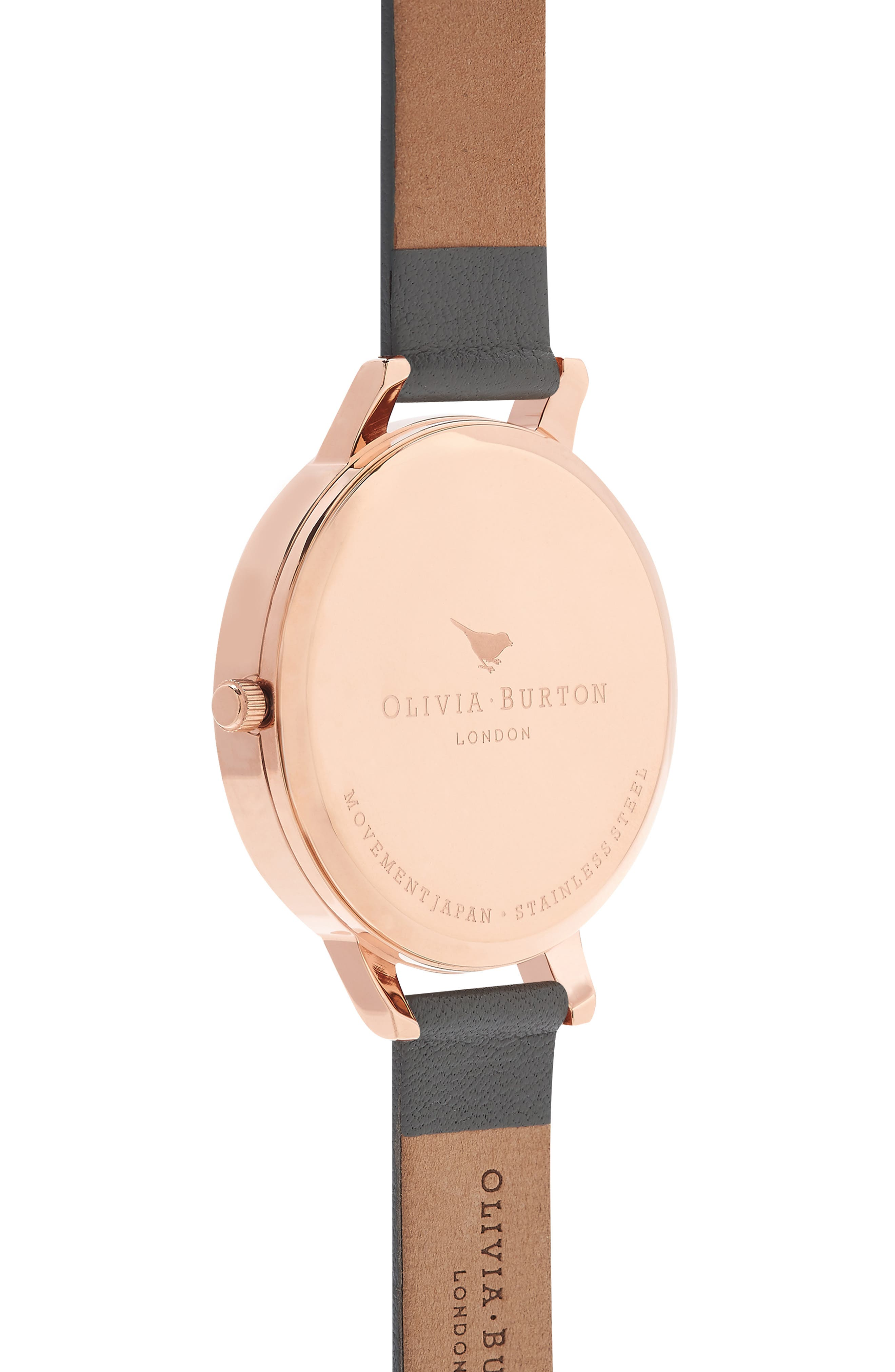 Marble Floral Leather Strap Watch, 38mm,                             Alternate thumbnail 8, color,