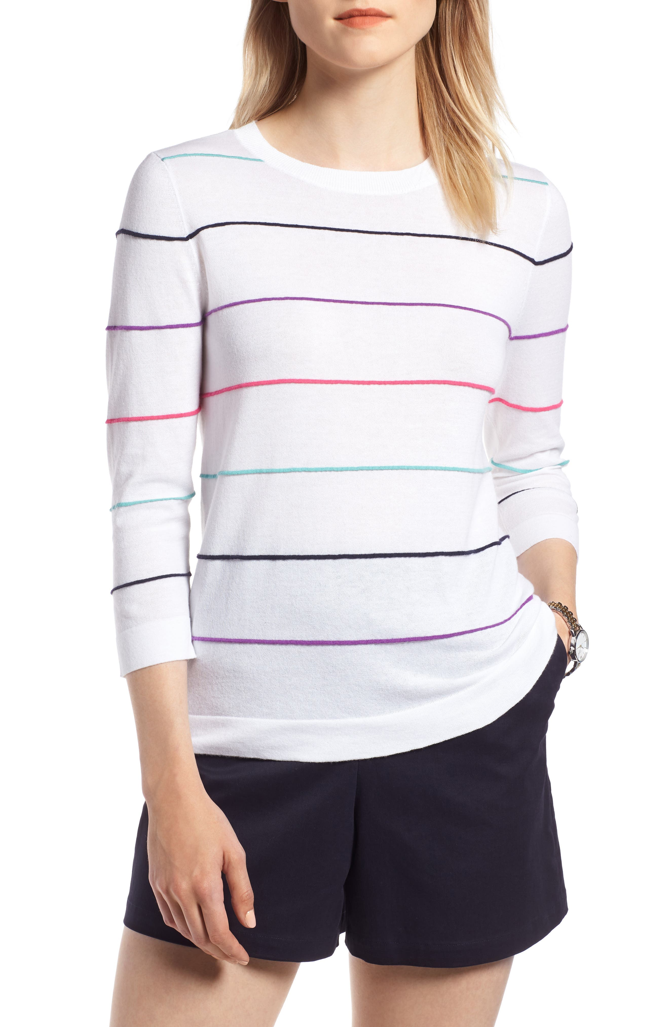 Stripe Cotton Sweater,                             Main thumbnail 1, color,                             100