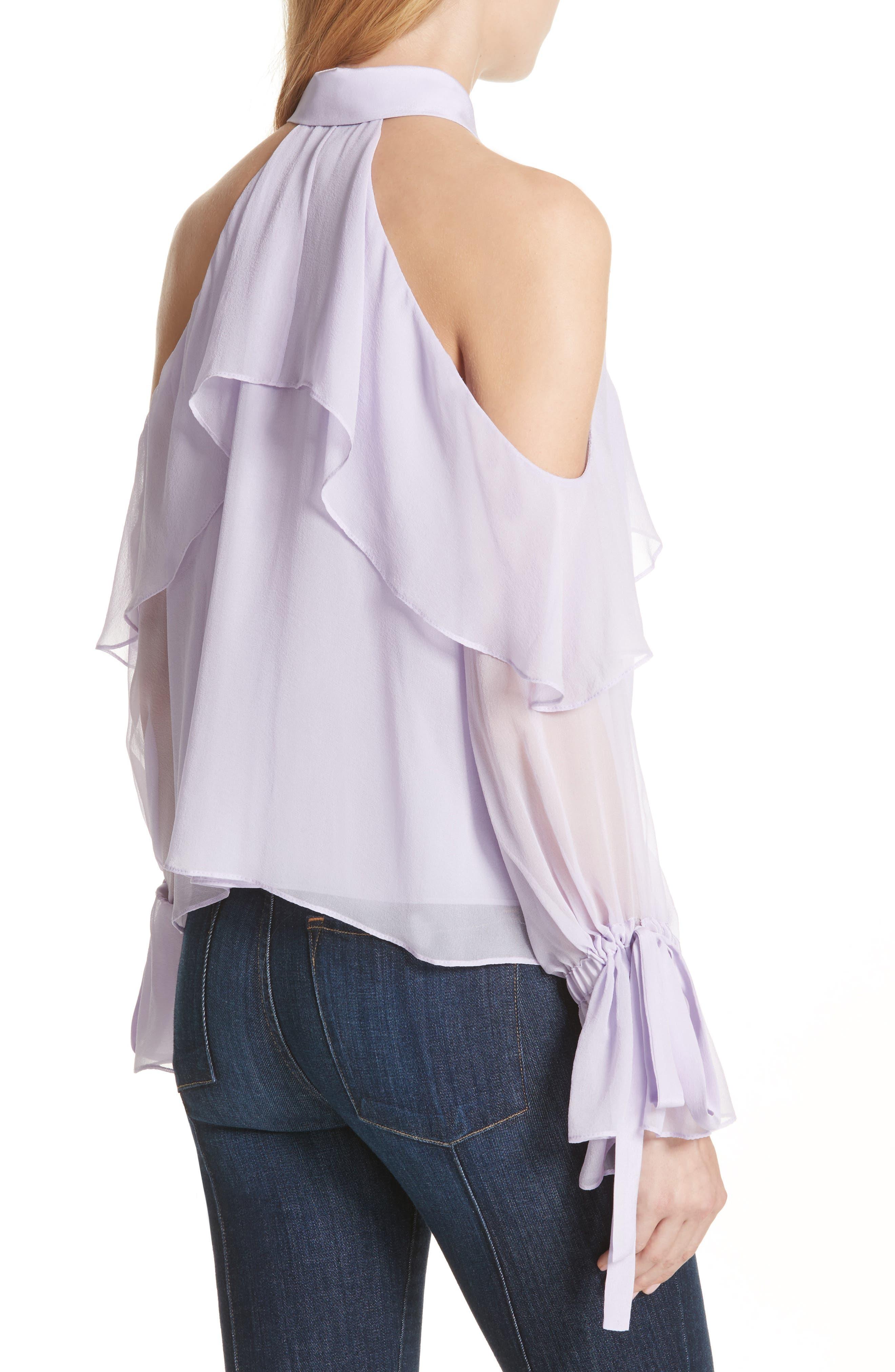 Blayne Cold Shoulder Silk Blouse,                             Alternate thumbnail 4, color,