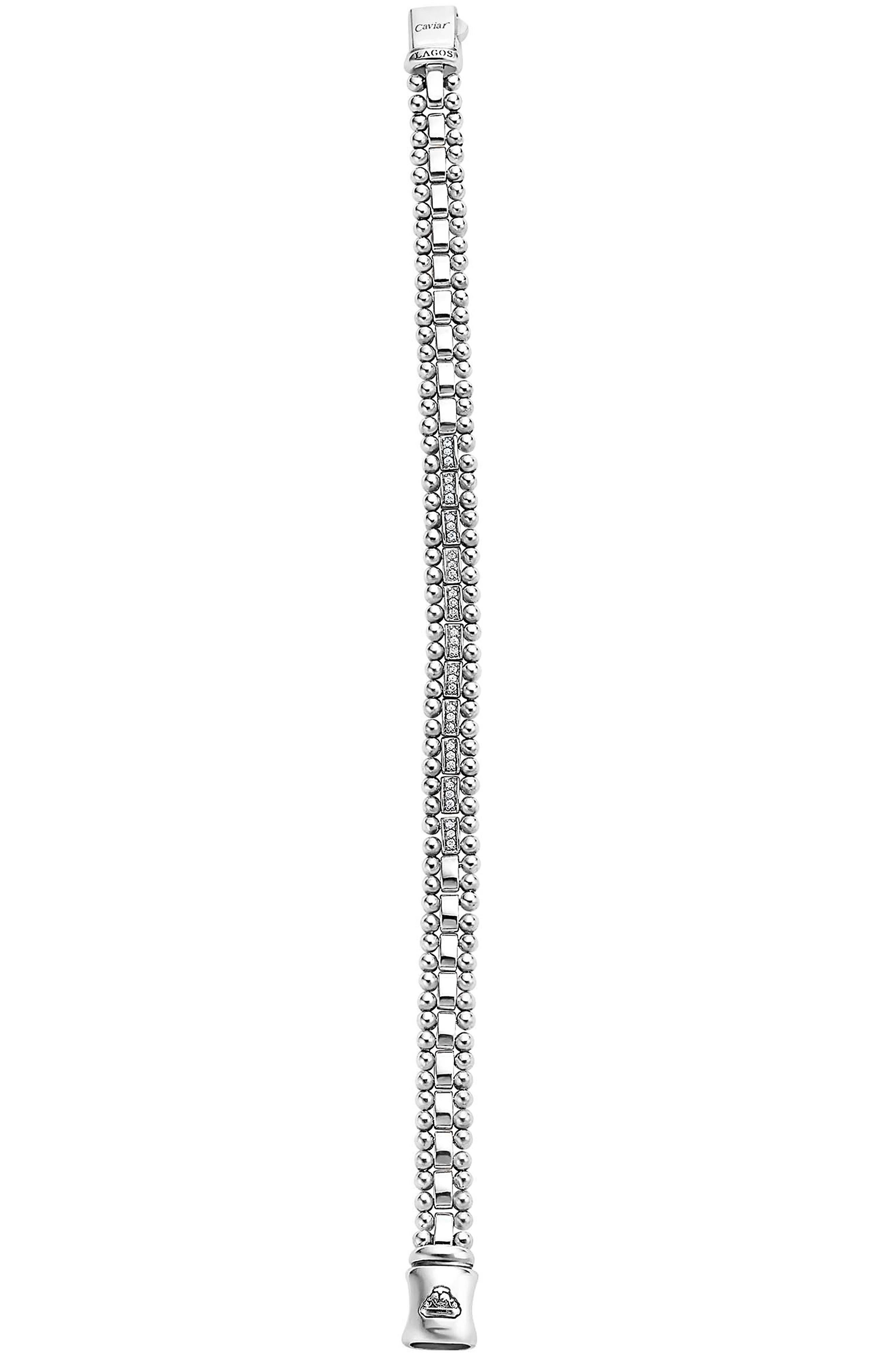 Caviar Spark Diamond Link Bracelet,                             Alternate thumbnail 2, color,                             SILVER/ DIAMOND