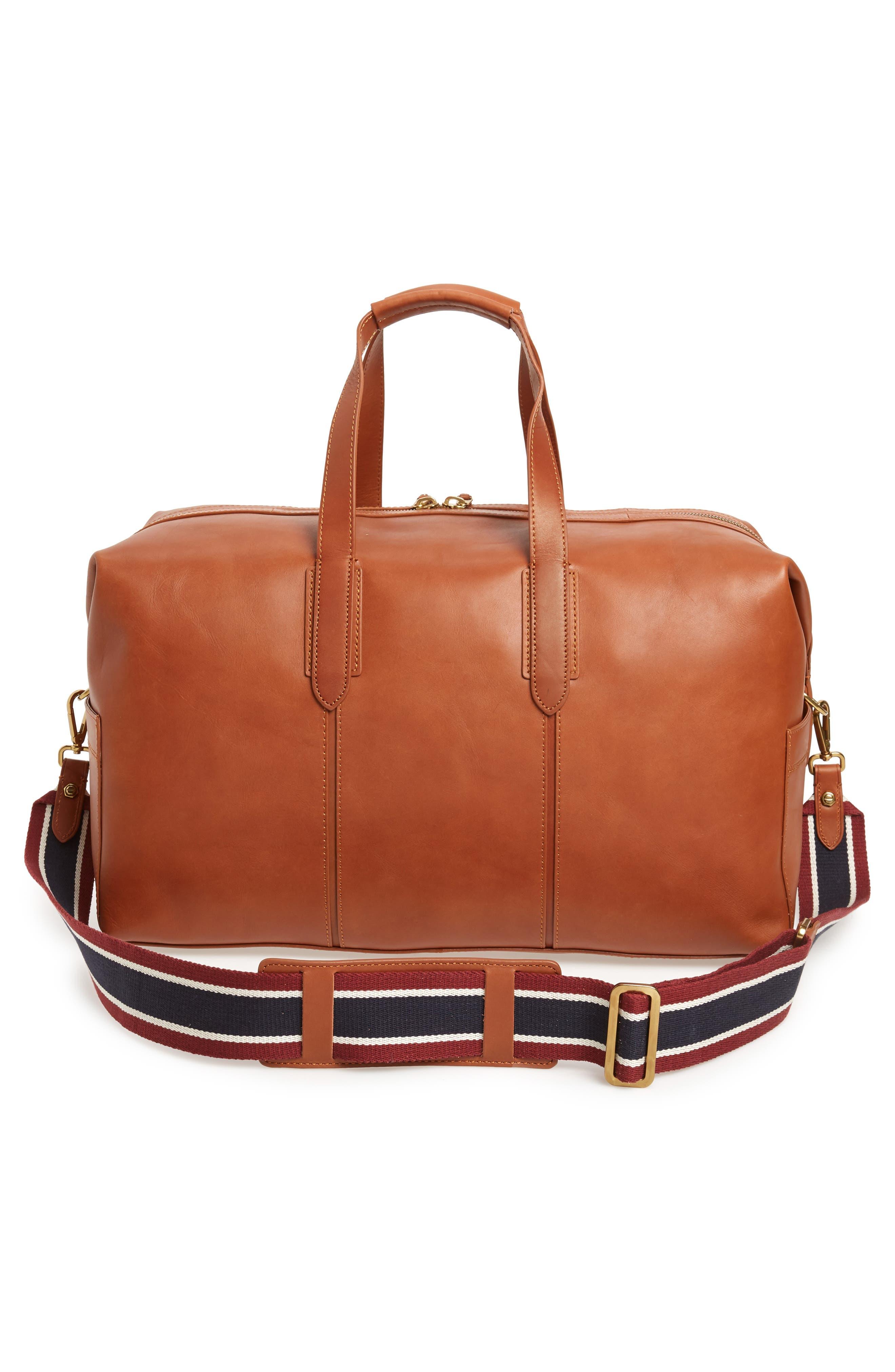 Oar Stripe Weekend Bag,                             Alternate thumbnail 3, color,                             BURNISHED SIENNA