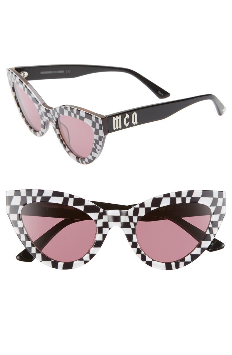 Mcq By Alexander Mcqueen Sunglasses 50MM CAT EYE SUNGLASSES - WHITE BLACK CHECK