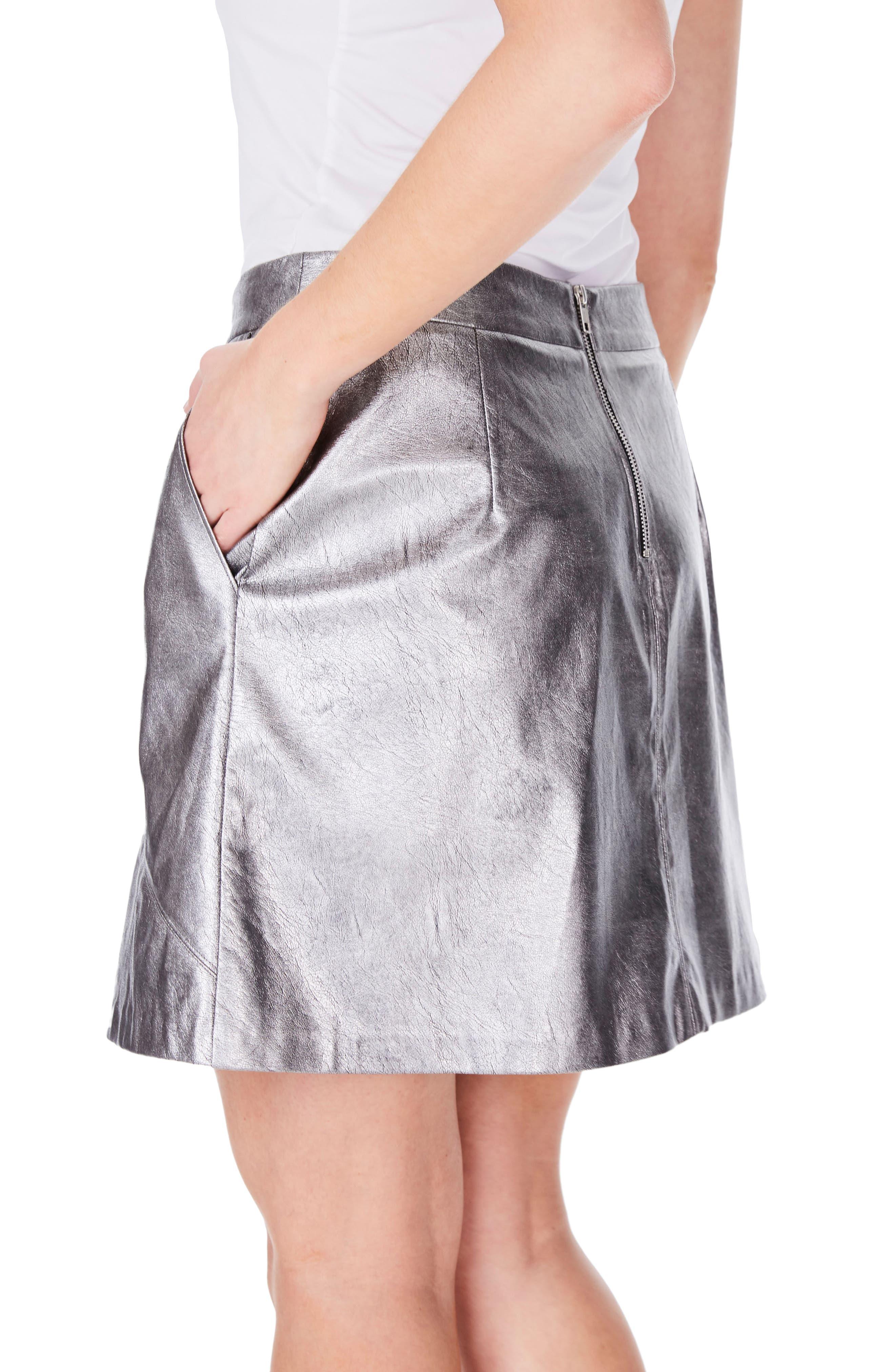 Metallic Faux Leather Miniskirt,                             Alternate thumbnail 2, color,