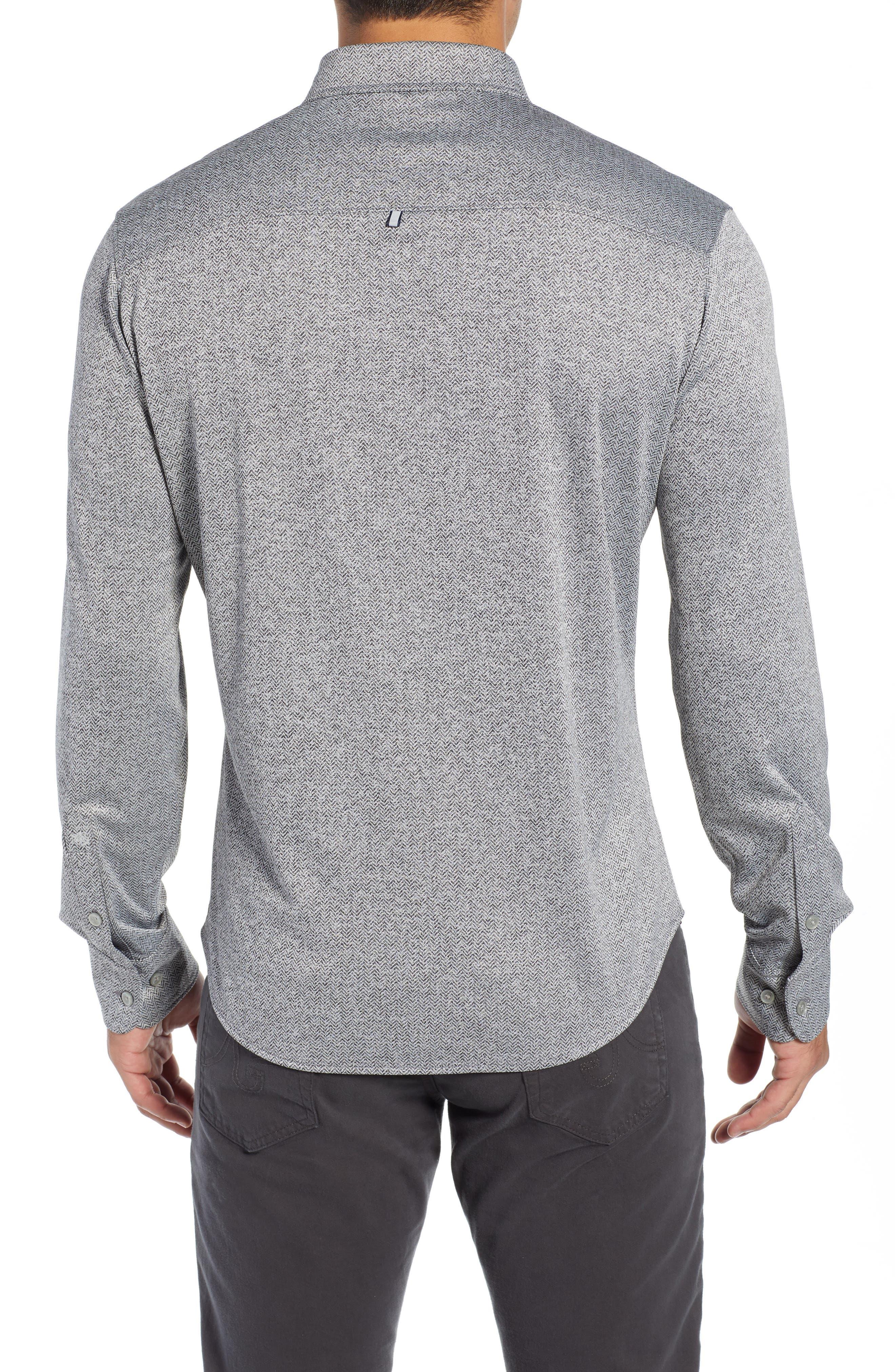 Trim Fit Knit Sport Shirt,                             Alternate thumbnail 3, color,                             BLACK