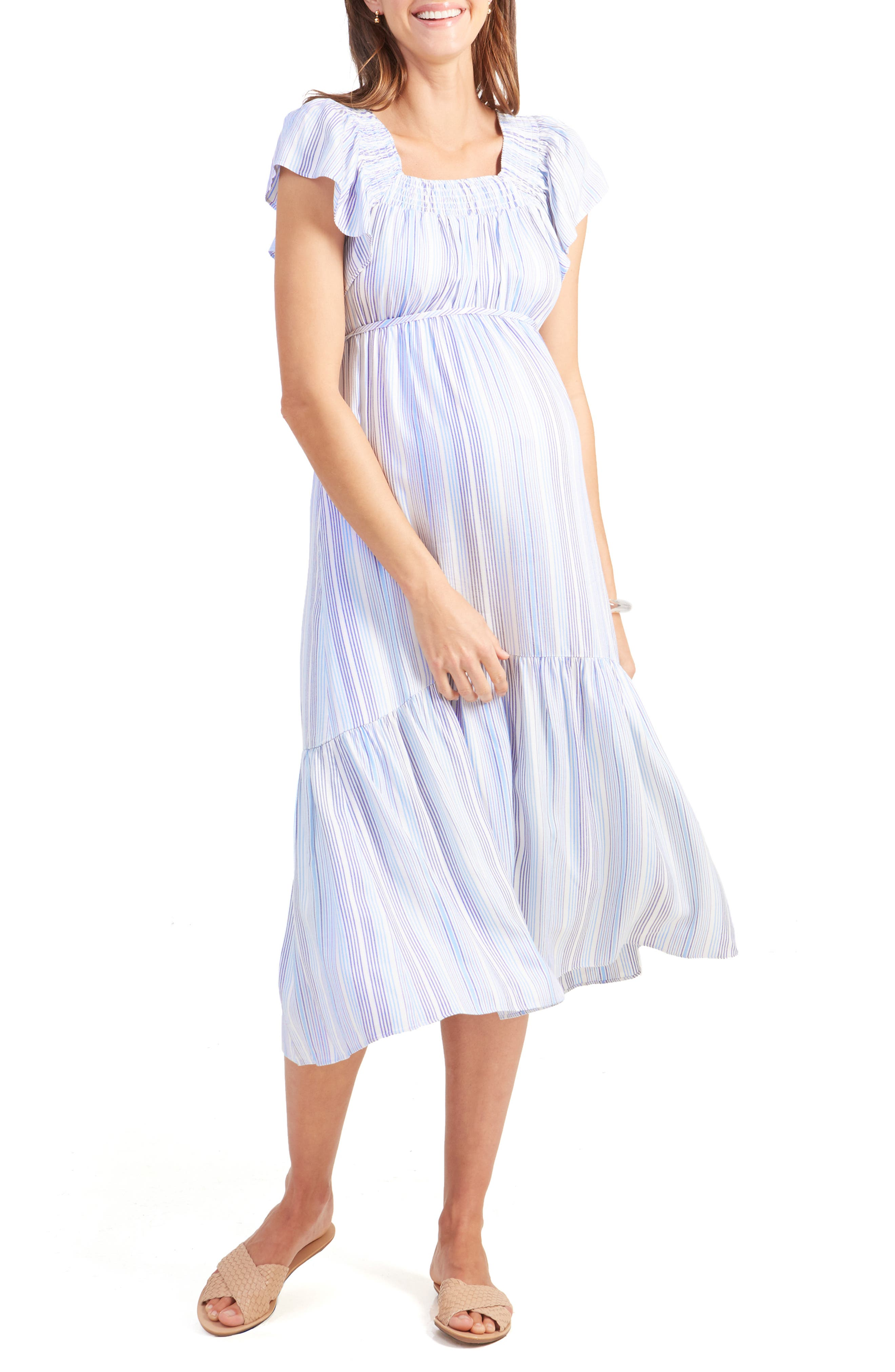 INGRID & ISABEL<SUP>®</SUP>,                             Flutter Sleeve Maternity Midi Dress,                             Main thumbnail 1, color,                             BLUE MULTI STRIPE