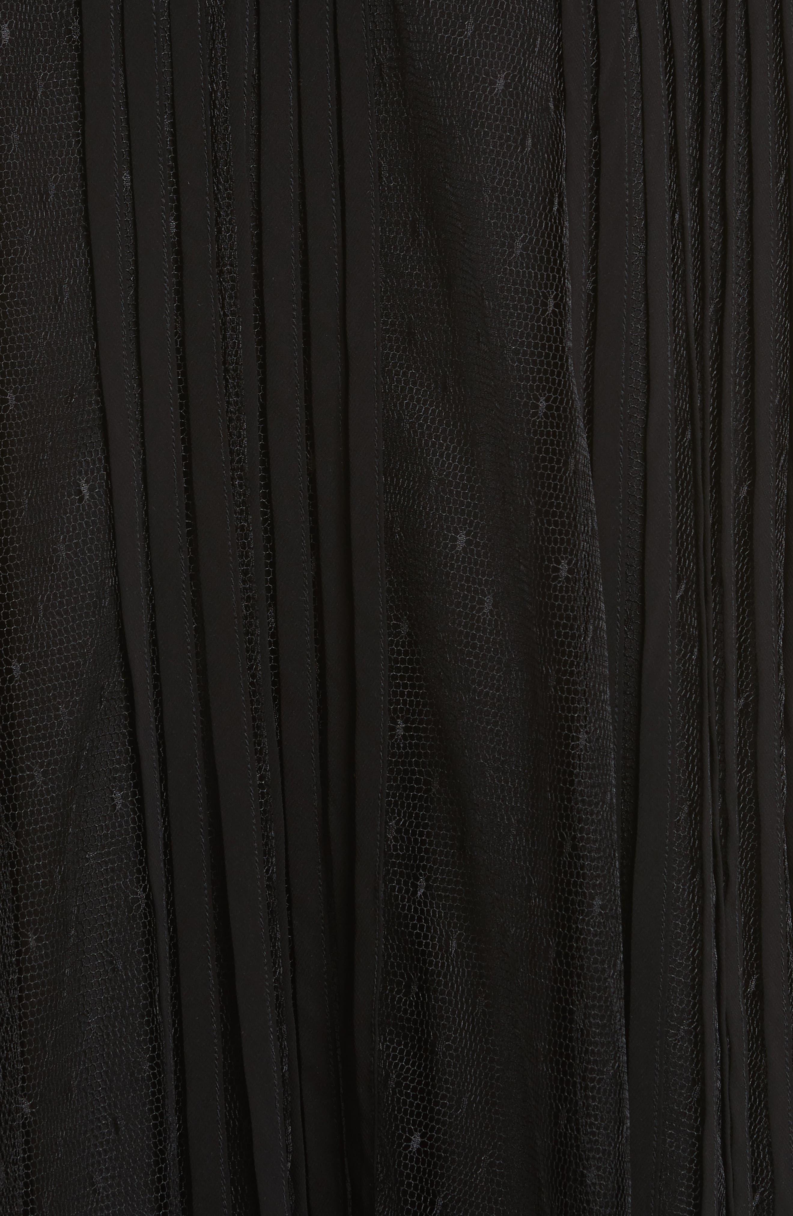Point d'Esprit & Georgette Midi Dress,                             Alternate thumbnail 5, color,