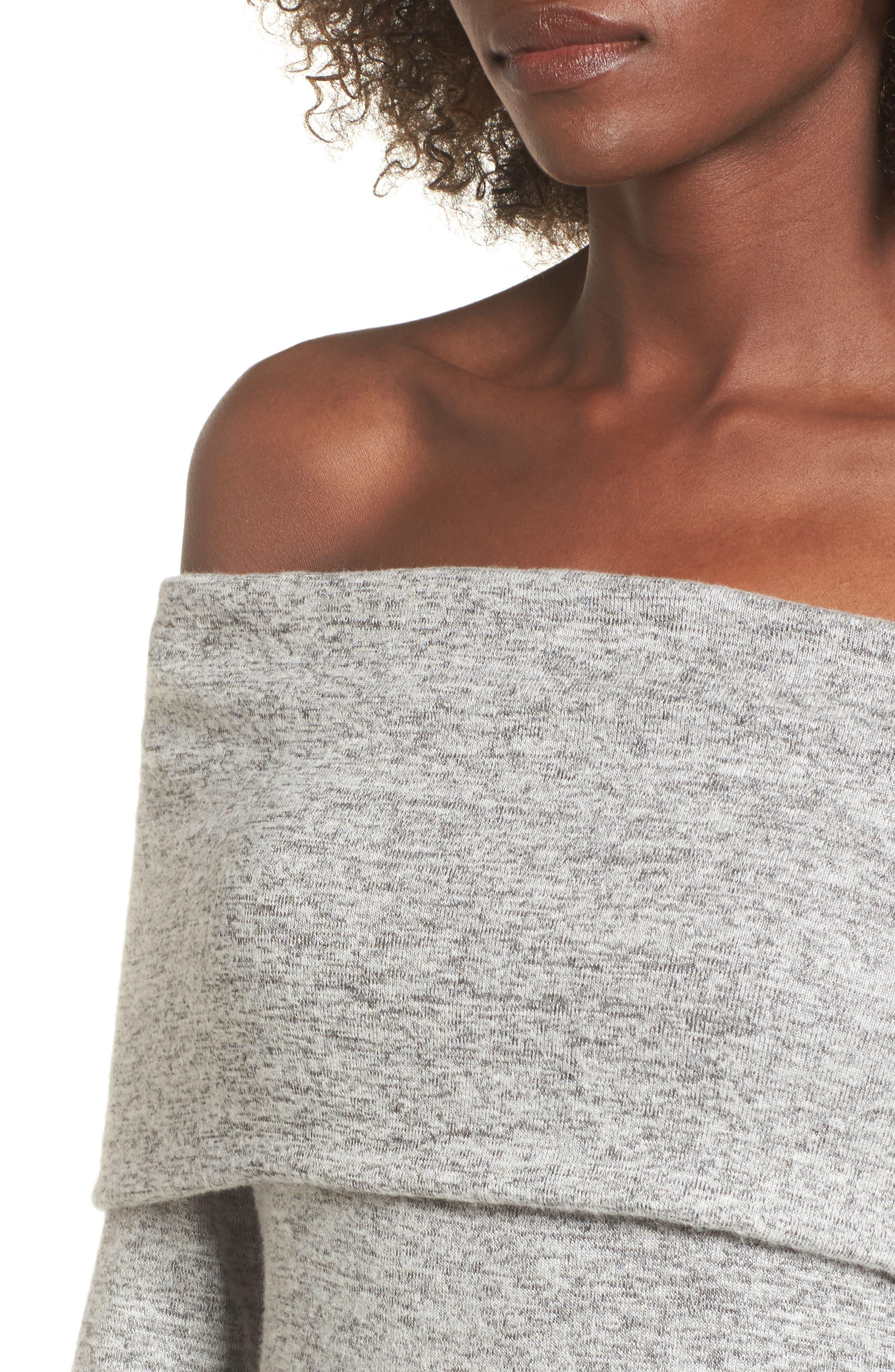 Off the Shoulder Sweater Dress,                             Alternate thumbnail 4, color,                             H GREY