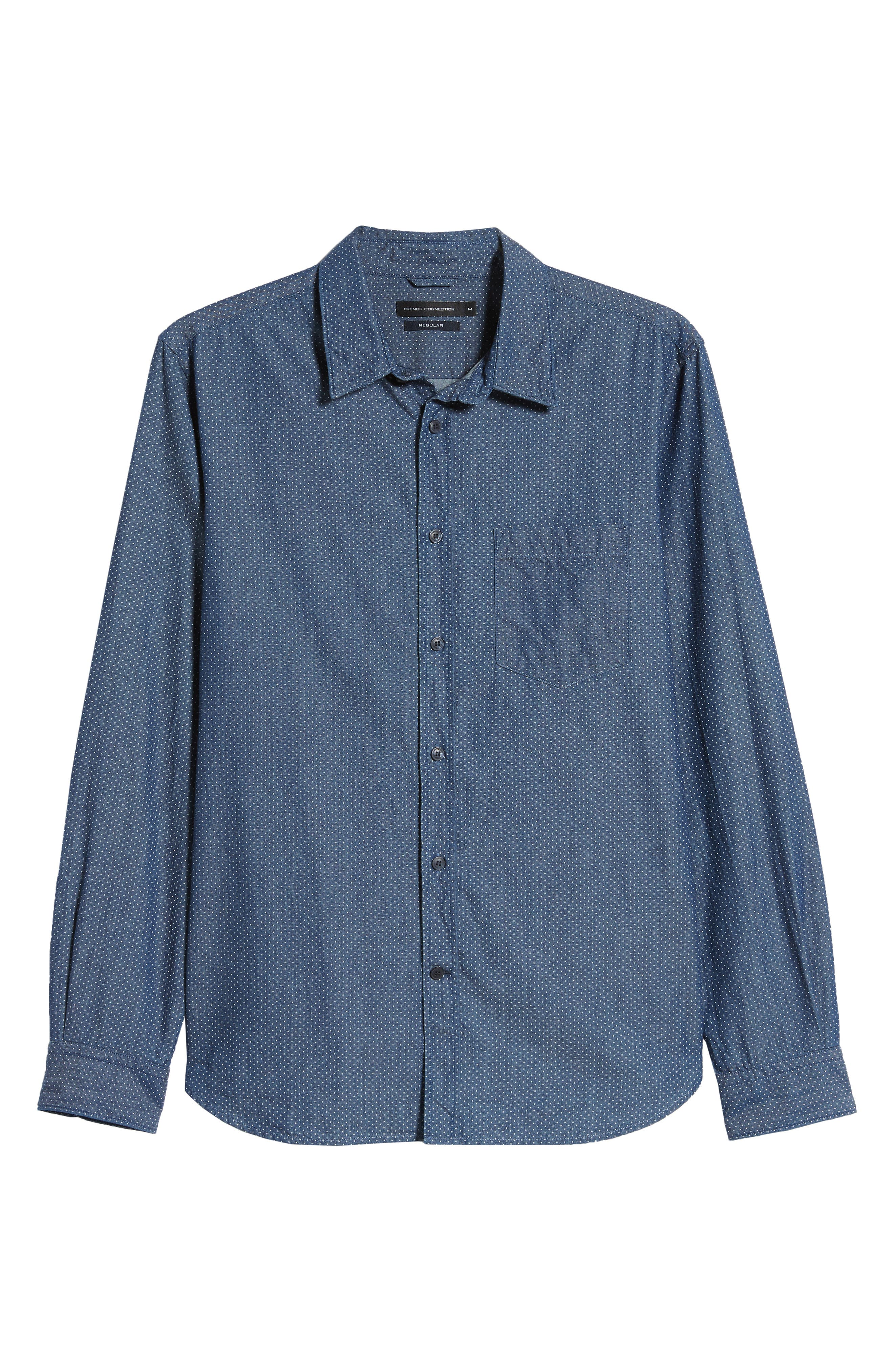 Dotted Regular Fit Chambray Shirt,                             Alternate thumbnail 5, color,                             CHAMBRAY MULTI