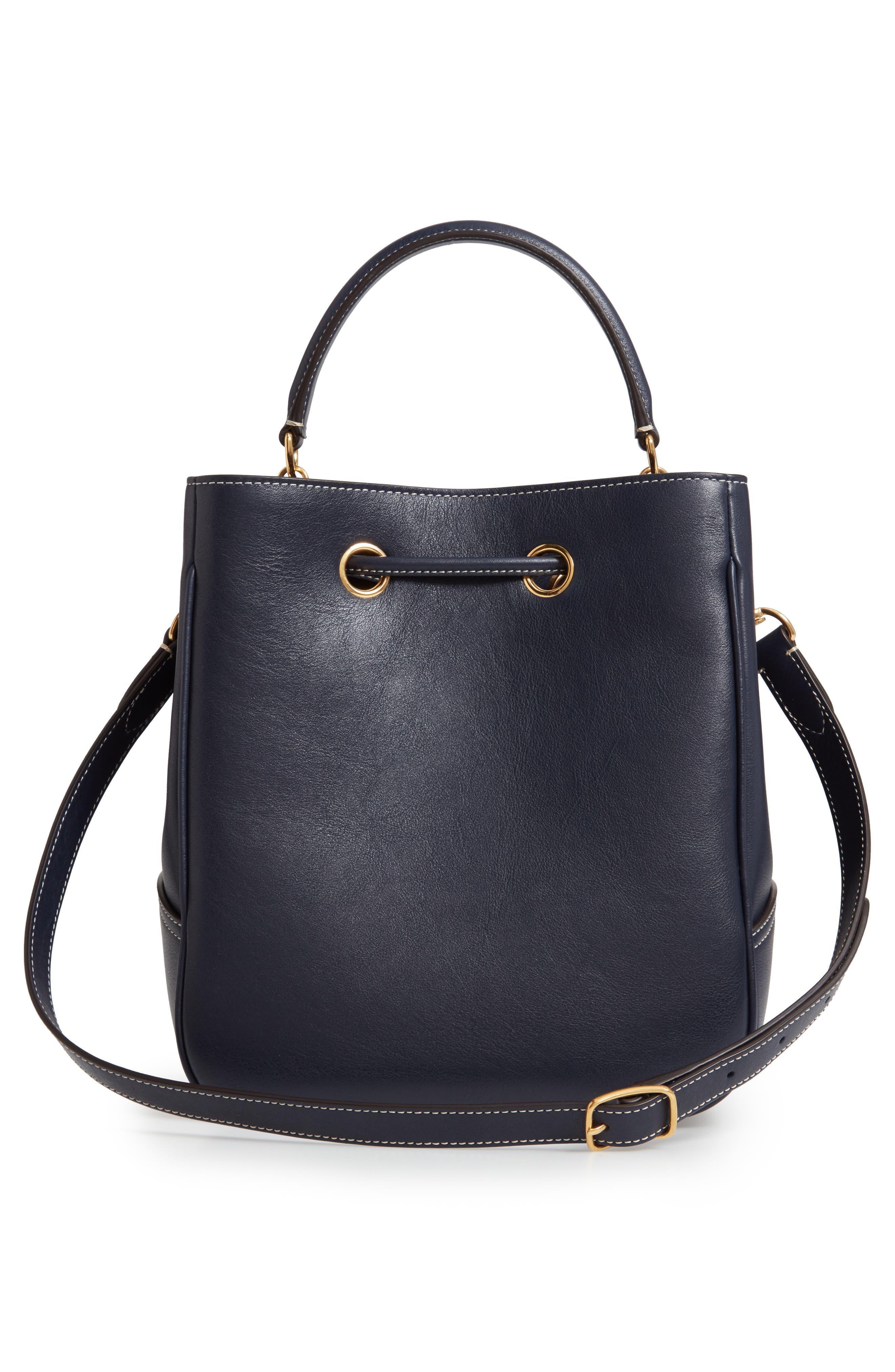 Hampstead Silky Calfskin Leather Bucket Bag,                             Alternate thumbnail 3, color,                             MIDNIGHT
