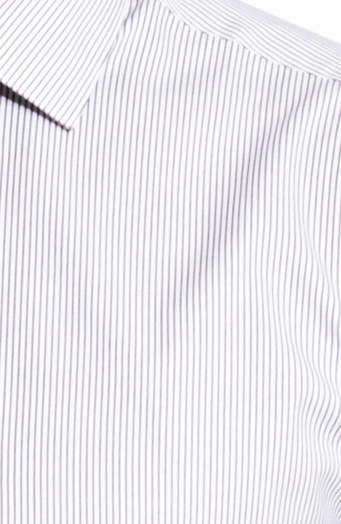 Trim Fit Stripe Dress Shirt,                             Alternate thumbnail 4, color,
