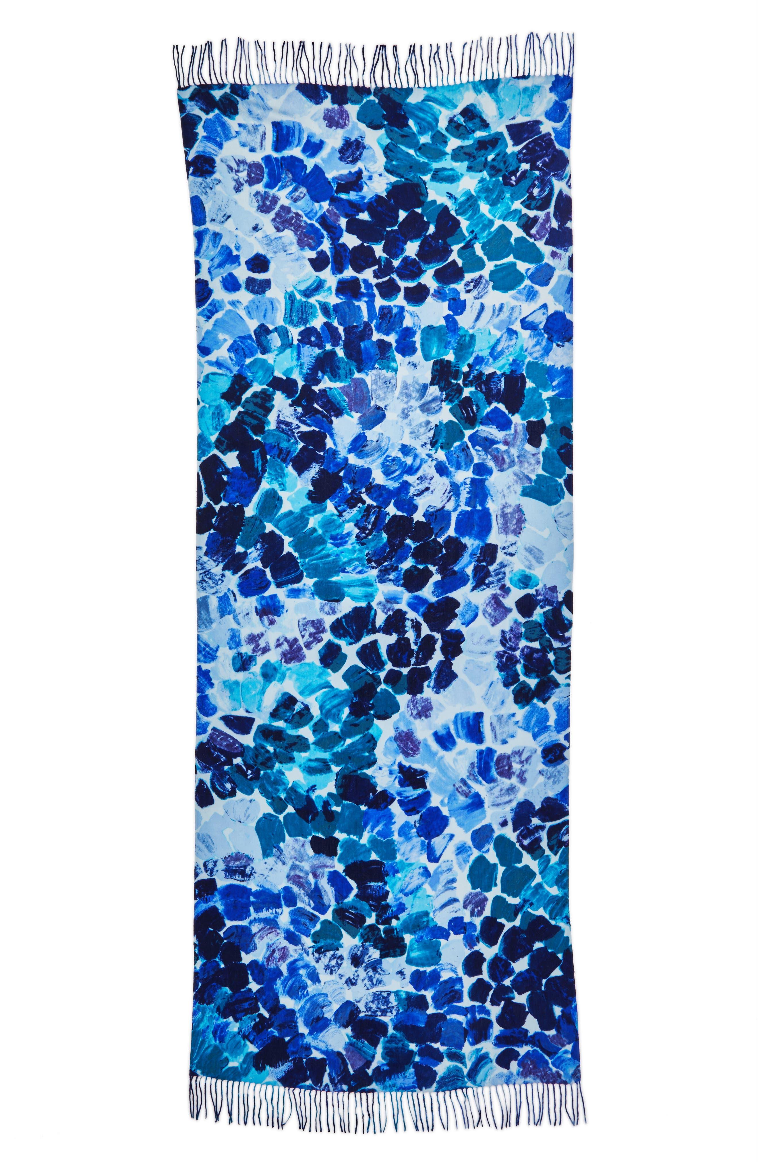 Marine Mosaic Print Wool & Cashmere Scarf,                             Alternate thumbnail 11, color,