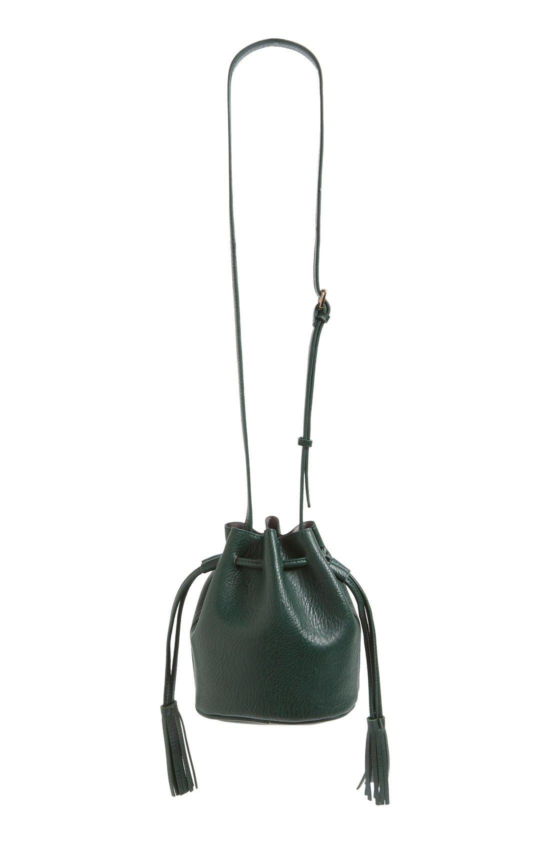 Mini Faux Leather Tassel Bucket Bag,                             Alternate thumbnail 24, color,