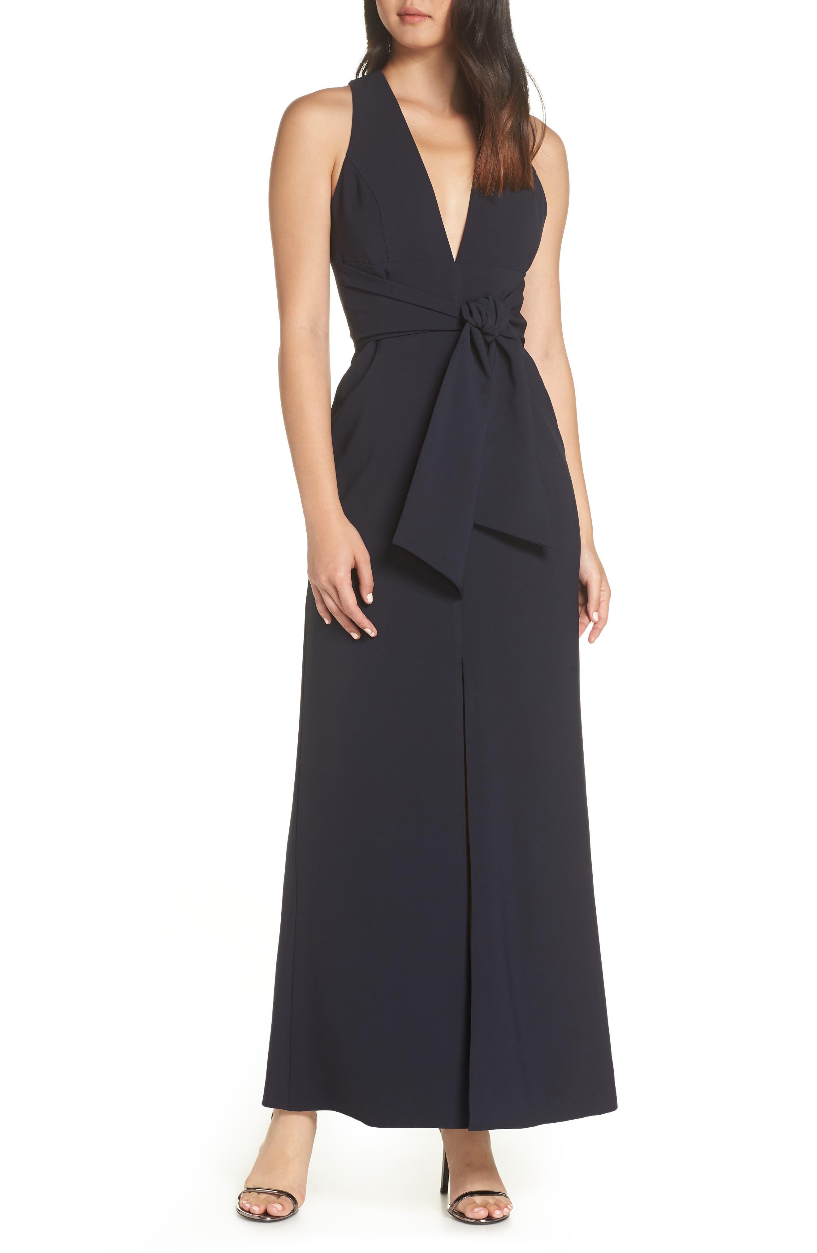 Harlyn Deep V-Neck Tie Front Evening Dress, Blue