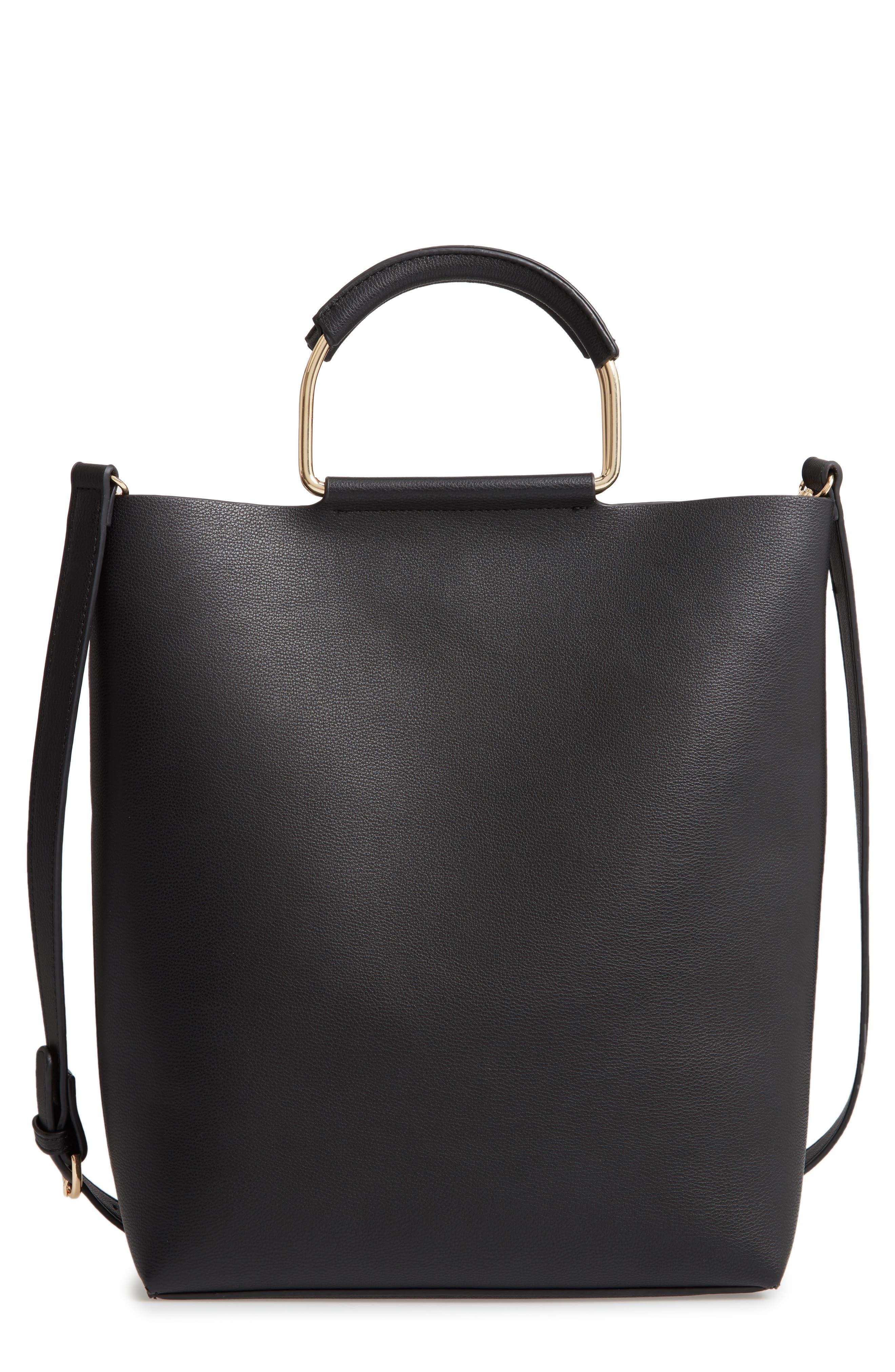 Payton Convertible Faux Leather Tote,                             Main thumbnail 1, color,                             BLACK