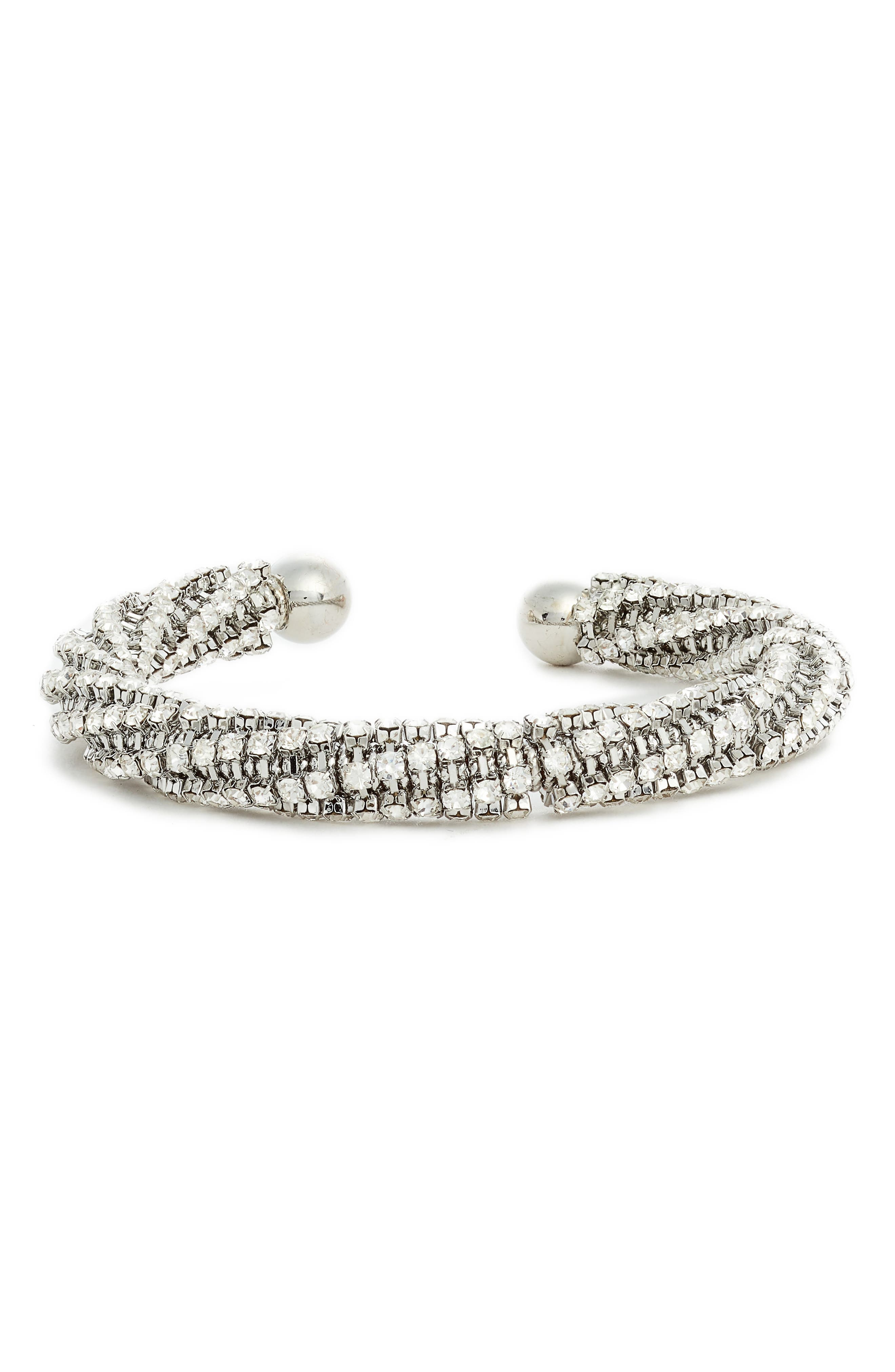 Crystal Cuff Bracelet,                             Main thumbnail 1, color,                             SILVER