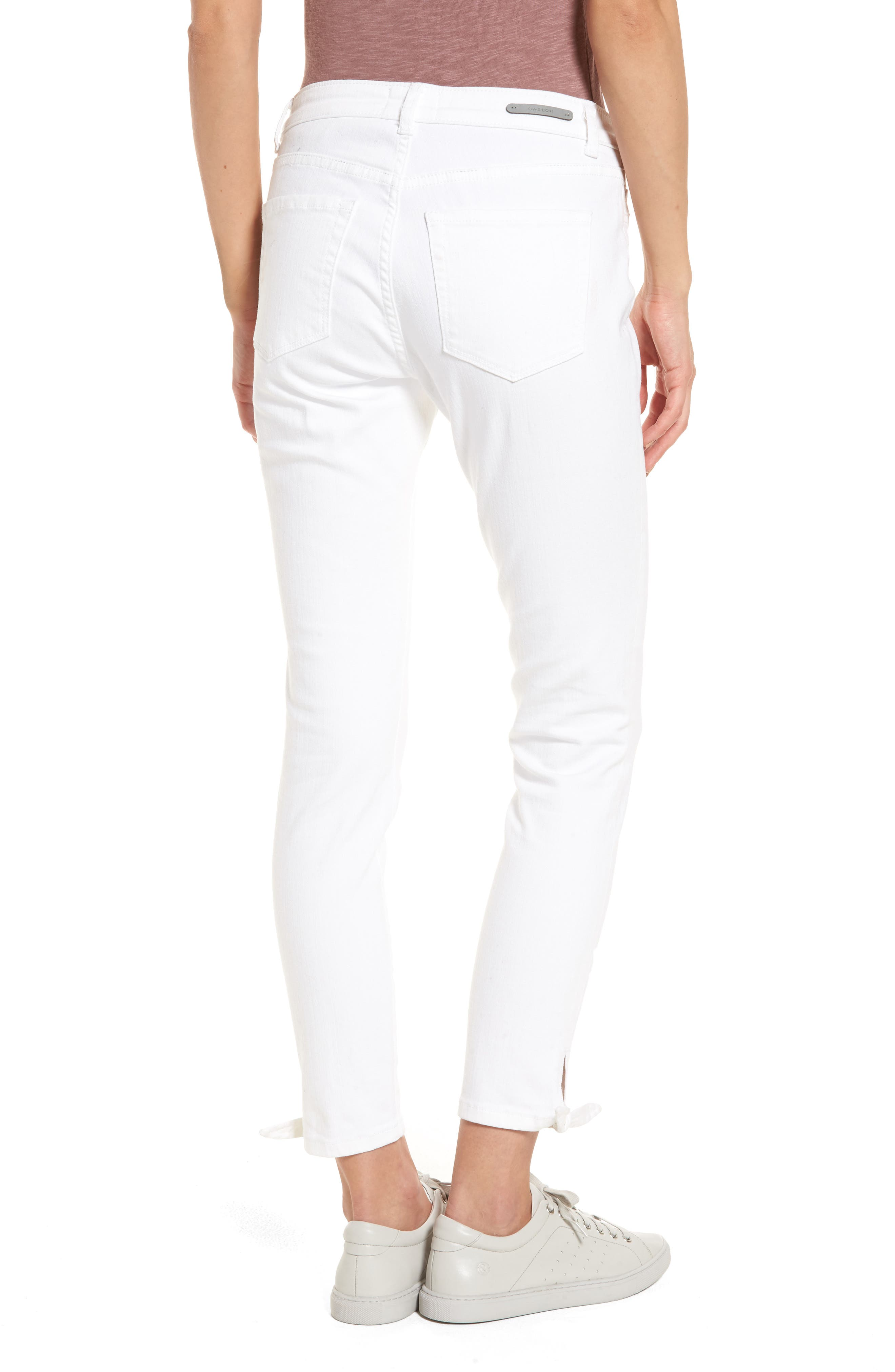 Tie Ankle Skinny Jeans,                             Alternate thumbnail 2, color,                             100