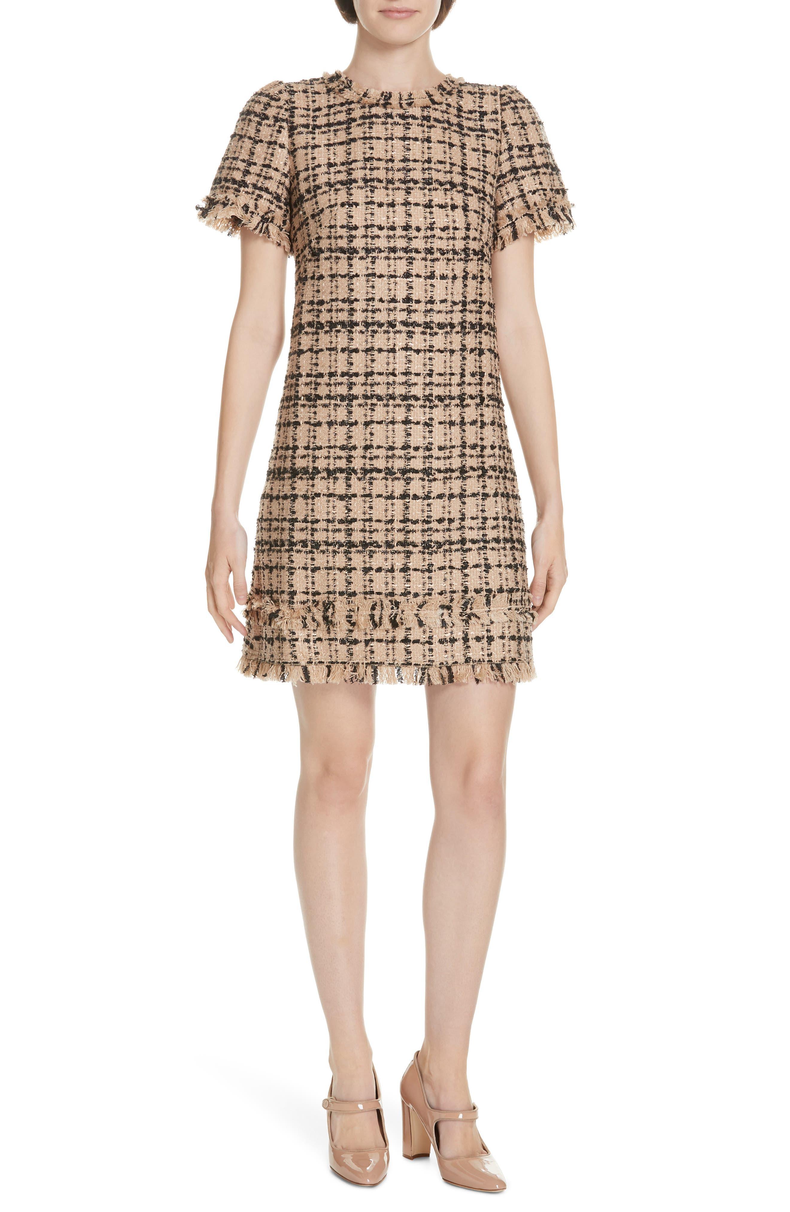 Kate Spade New York Two-Tone Tweed Dress, Beige