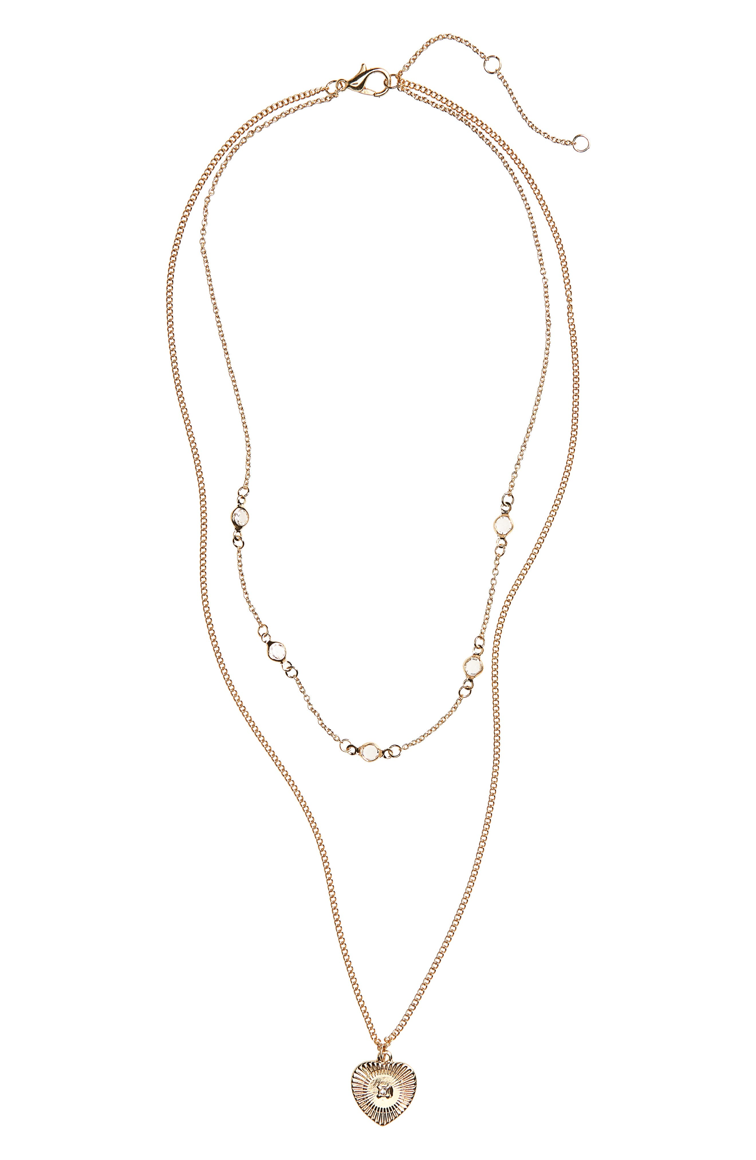Layered Crystal Heart Necklace,                             Main thumbnail 1, color,                             GOLD/ CRYSTAL