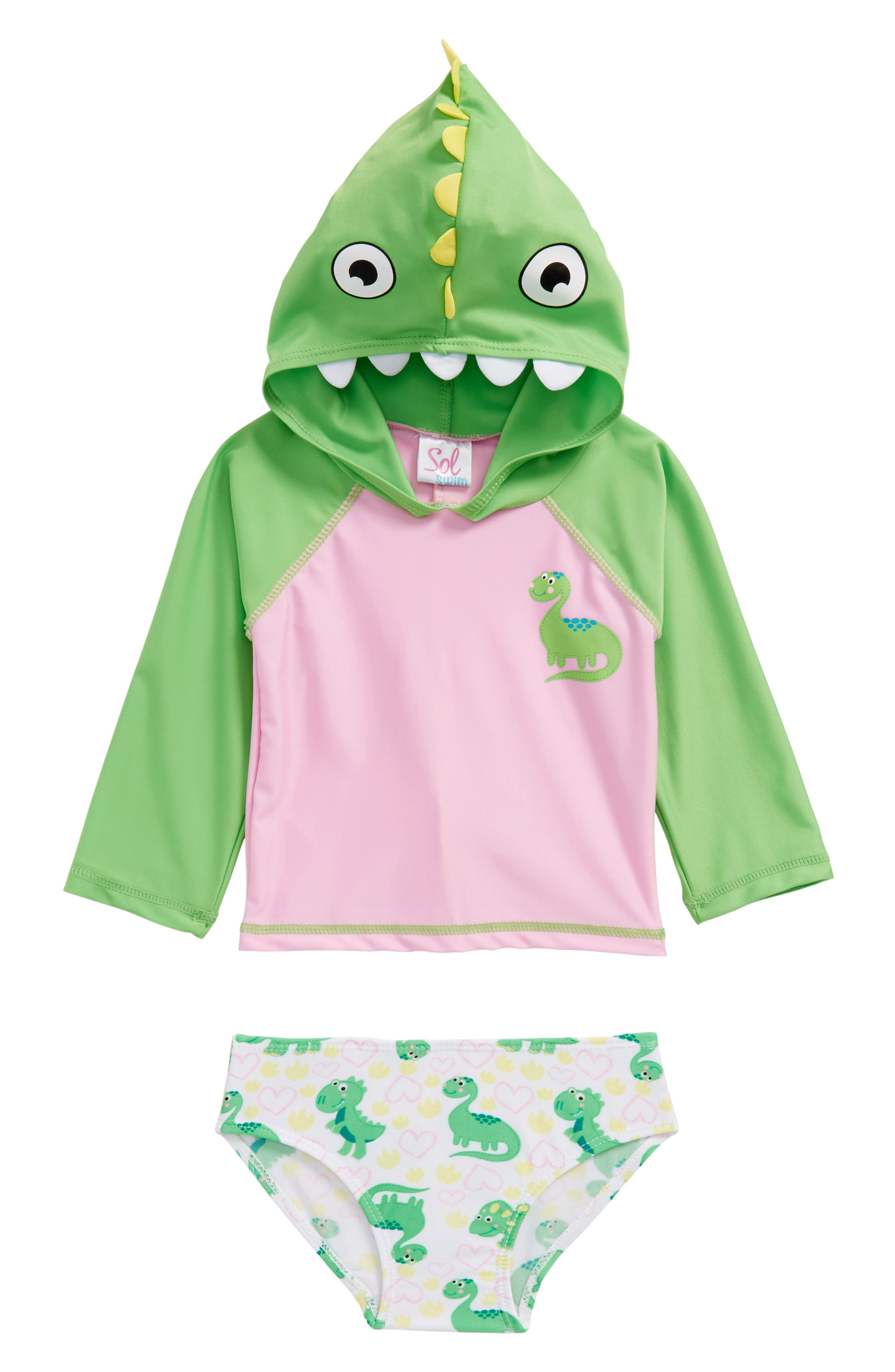 Dino Love Two-Piece Hooded Rashguard Swimsuit, Main, color, 699