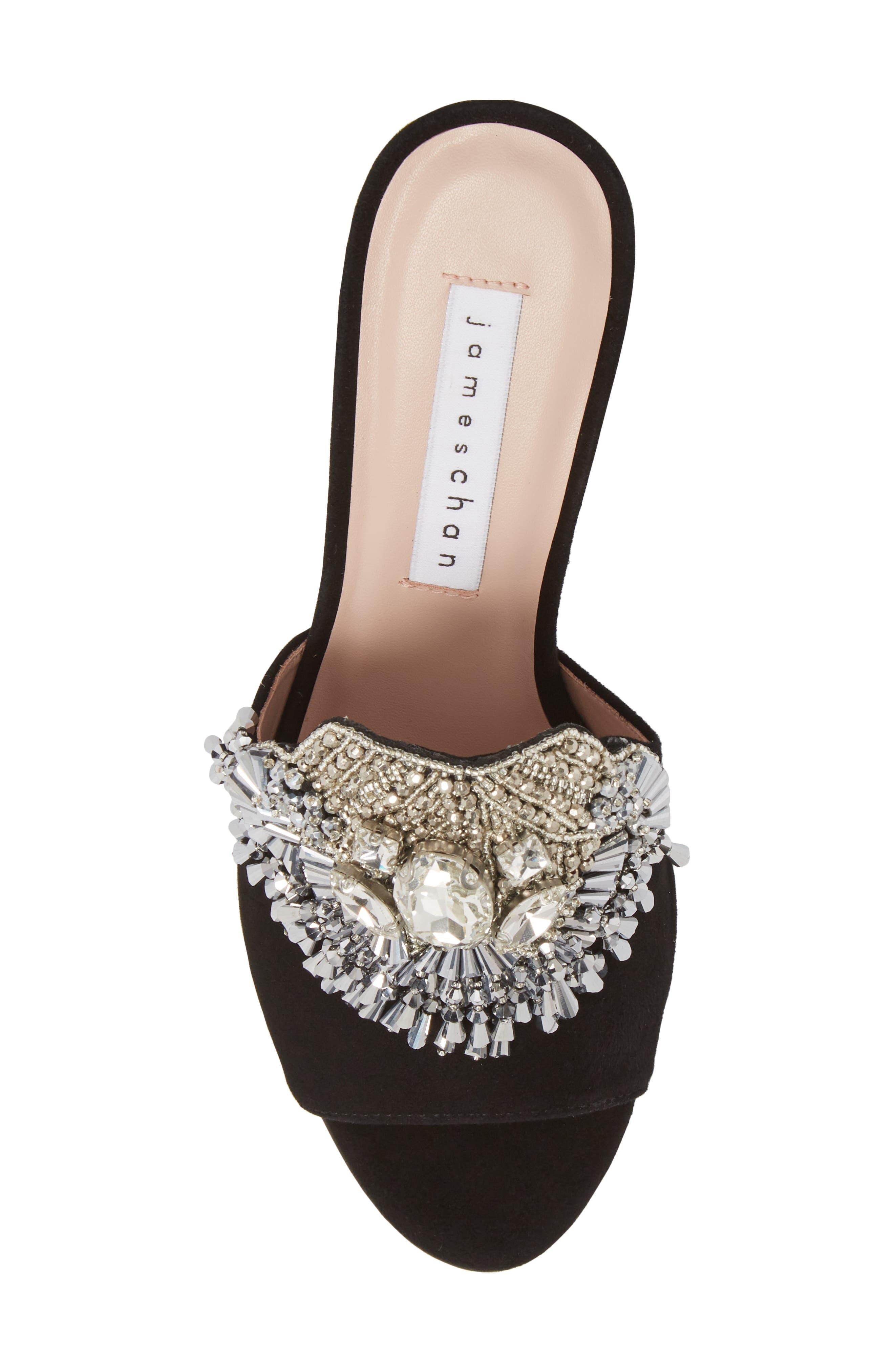 Adele Embellished Block Heel Sandal,                             Alternate thumbnail 5, color,                             001