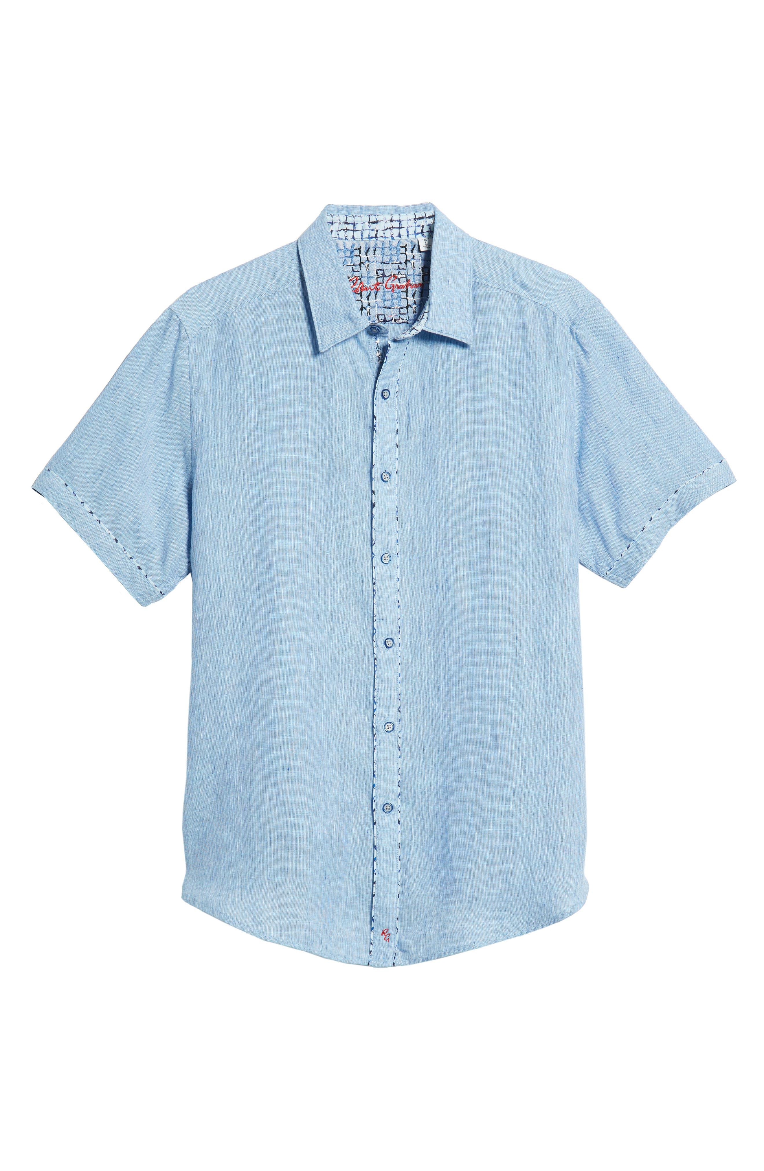 Gills Classic Fit Linen Sport Shirt,                             Alternate thumbnail 5, color,                             LIGHT BLUE