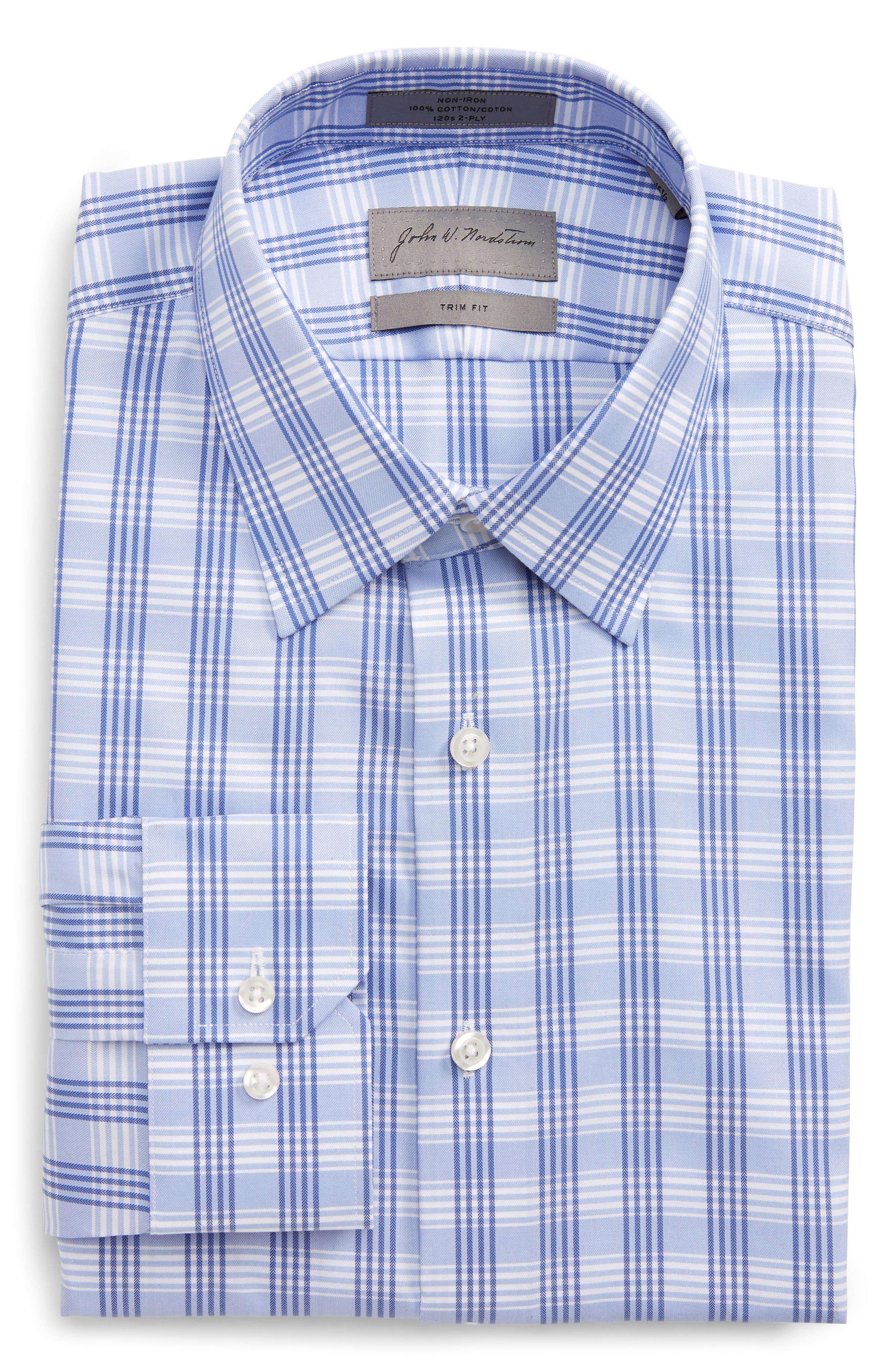 Trim Fit No-Iron Check Dress Shirt,                         Main,                         color,