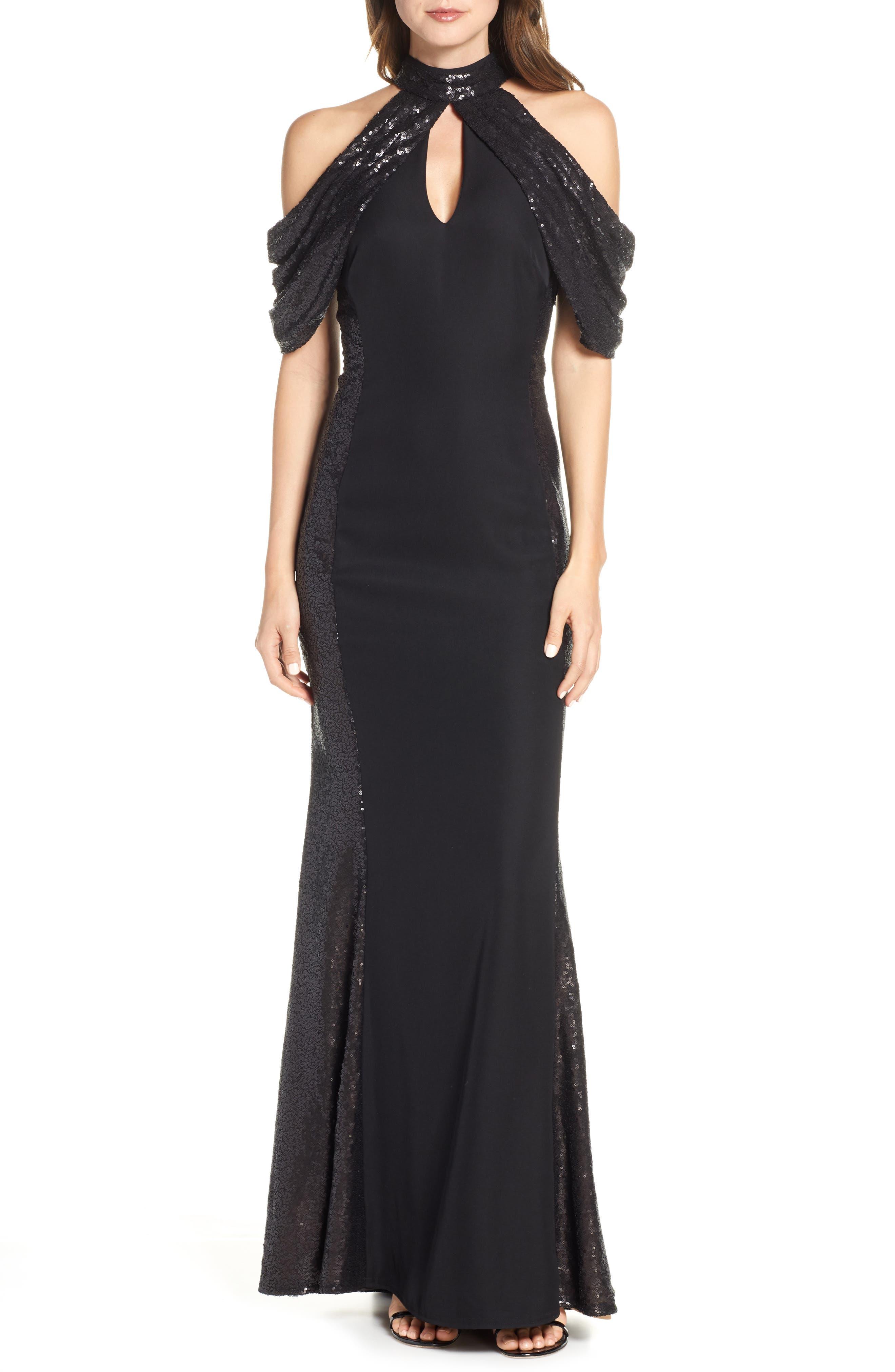 Tadashi Shoji Sequin & Crepe Cold Shoulder Gown, Black