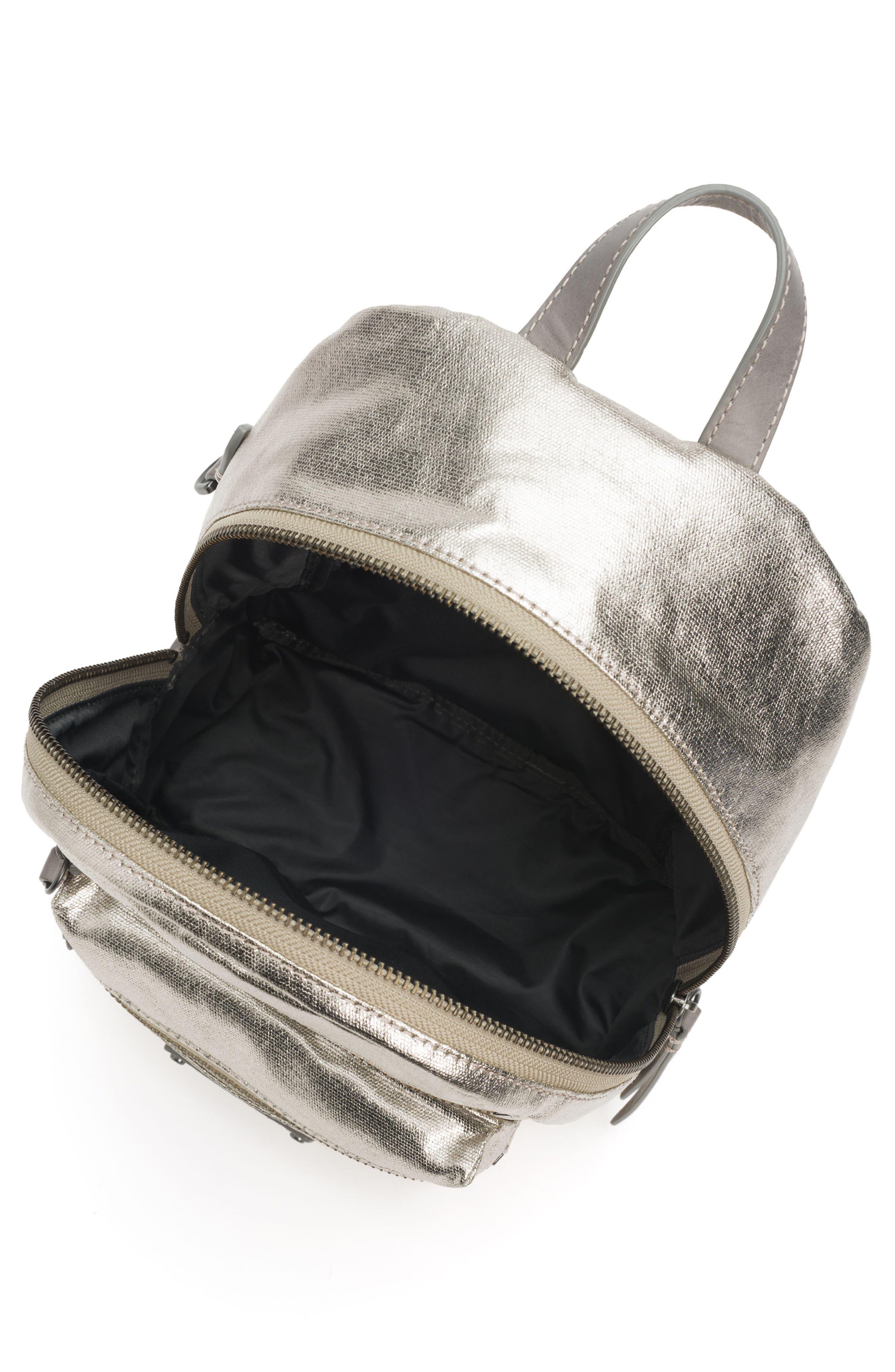 Mini Ivy Metallic Nylon Backpack,                             Alternate thumbnail 4, color,                             PEWTER