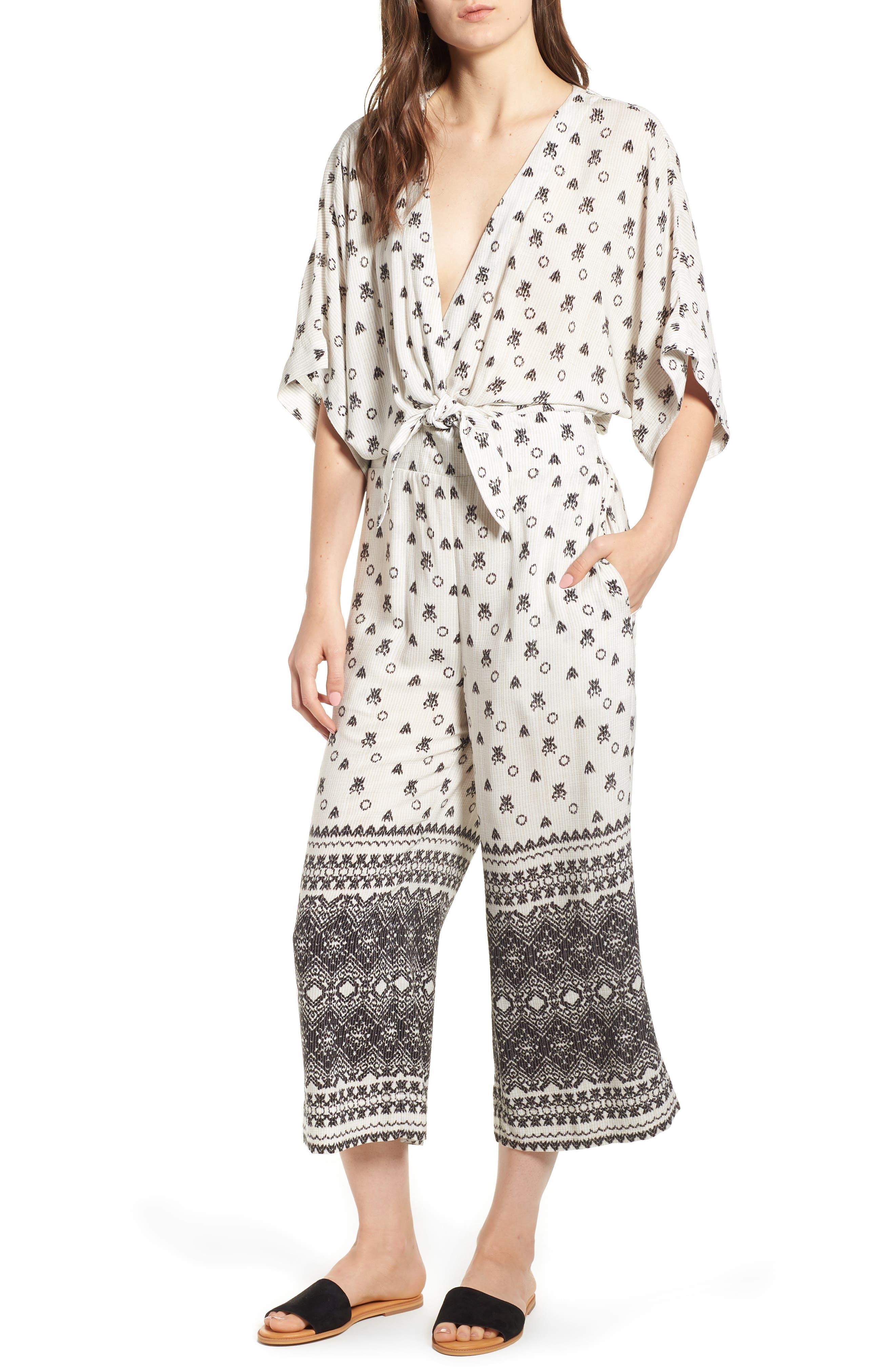 Desert Batik Print Tie Waist Jumpsuit,                             Main thumbnail 1, color,                             NATURAL