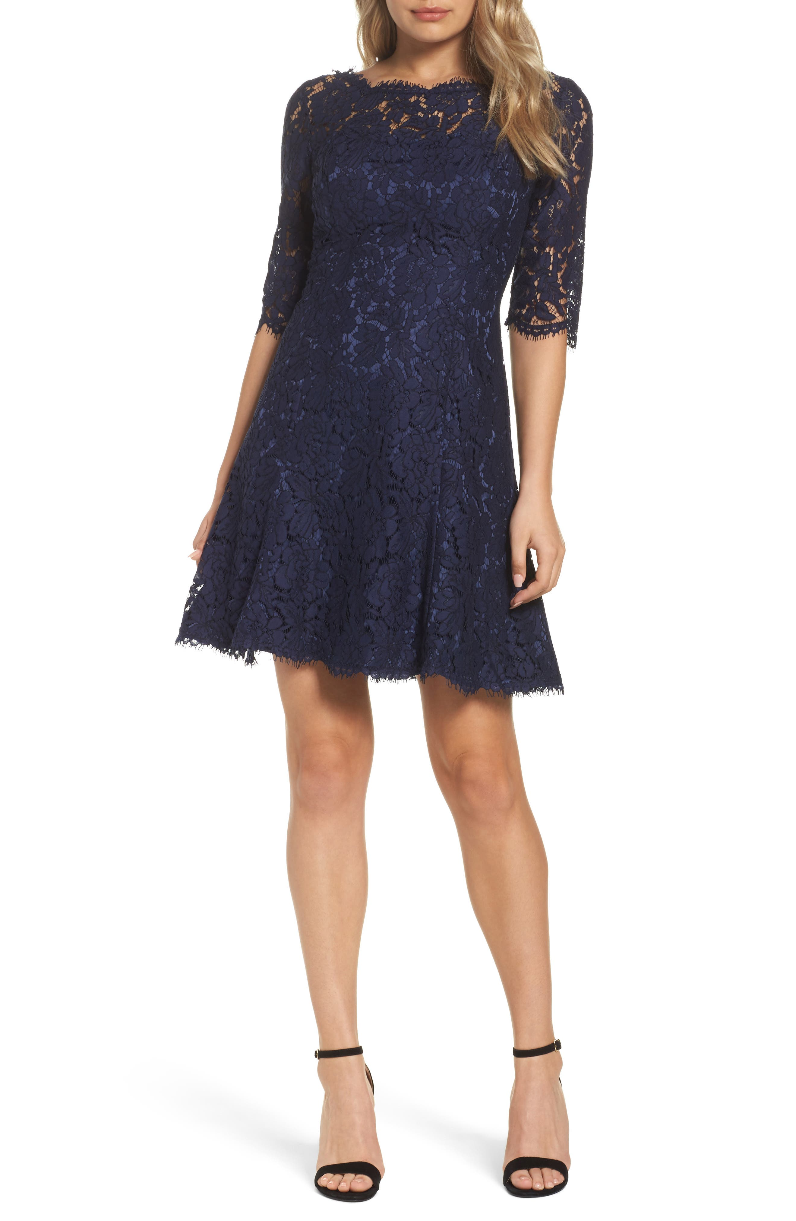 Eliza J Lace Fit & Flare Cocktail Dress, Blue