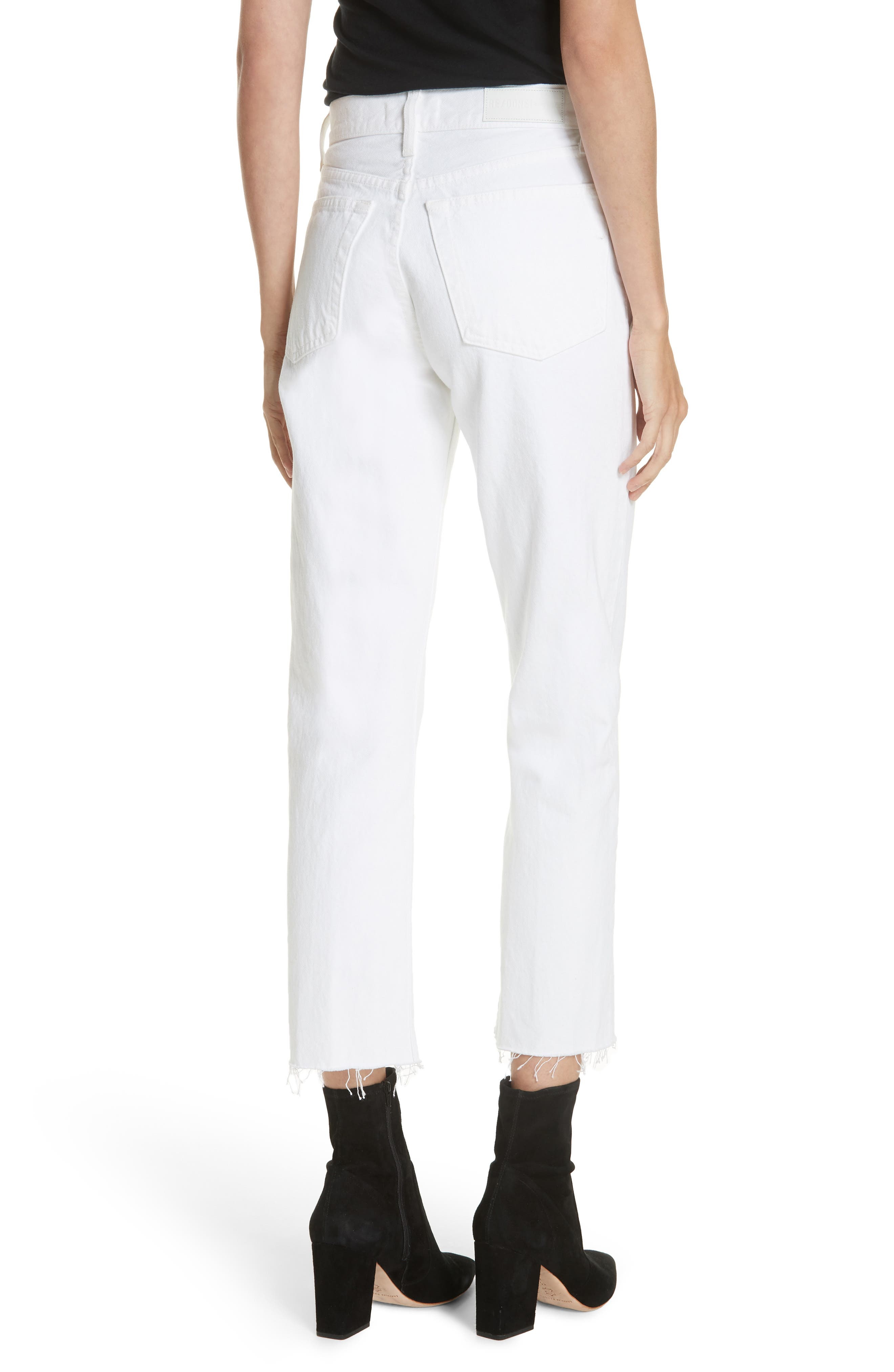 Originals High Waist Stove Pipe Jeans,                             Alternate thumbnail 2, color,                             WHITE