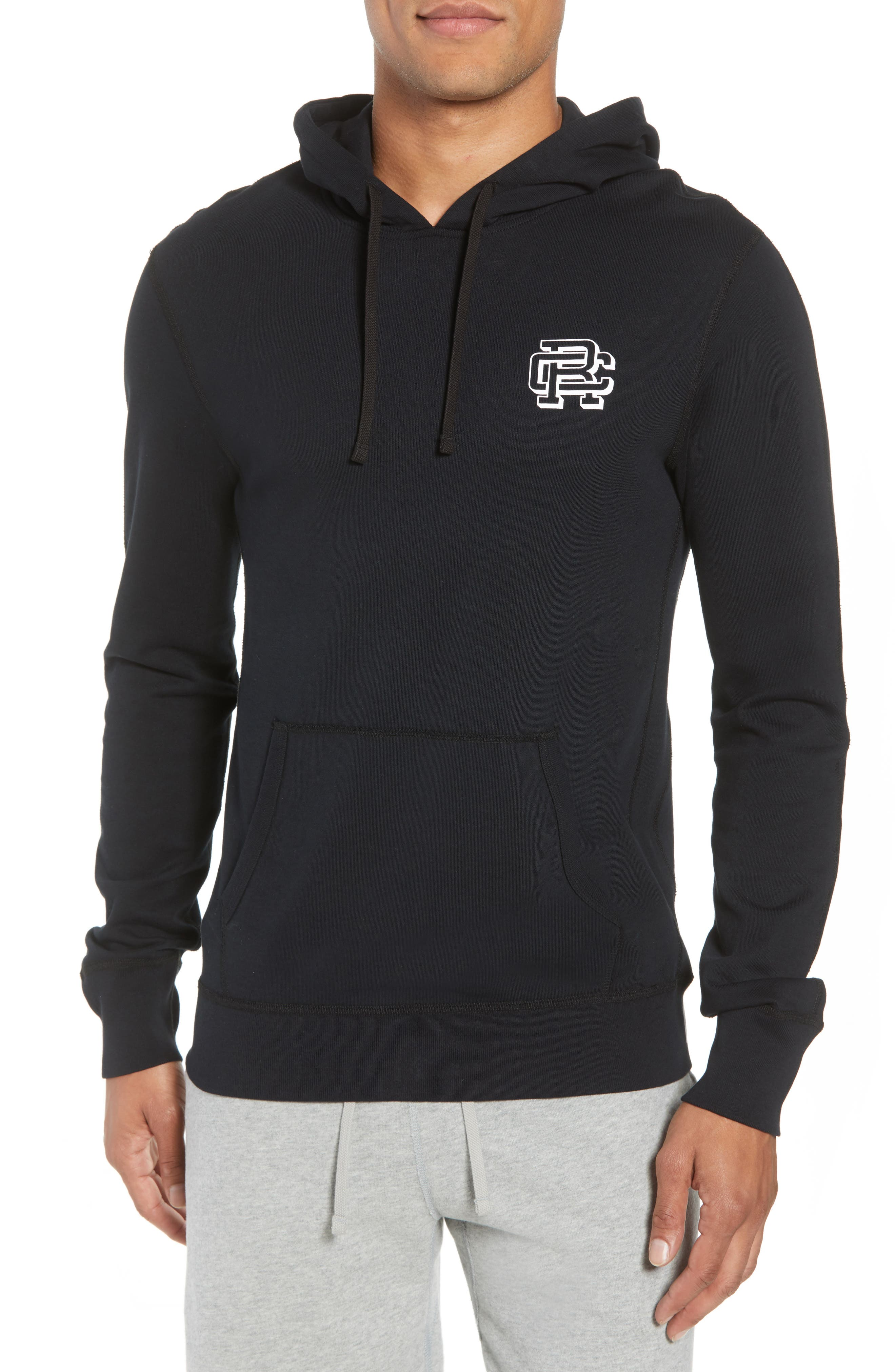 Classic Fit Hooded Pullover,                             Main thumbnail 1, color,                             BLACK