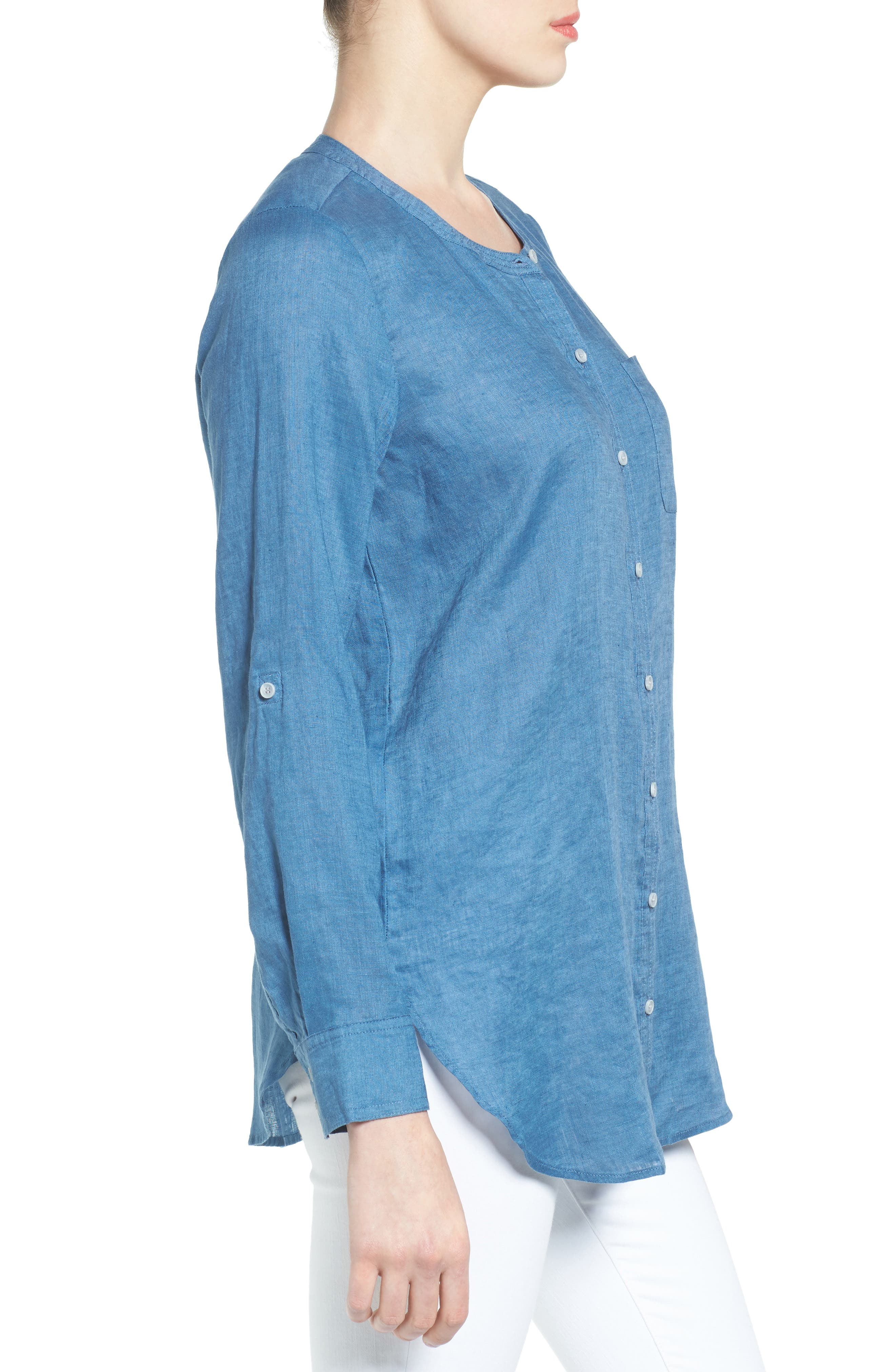 Two by Vince Camuto Collarless Linen Shirt,                             Alternate thumbnail 14, color,