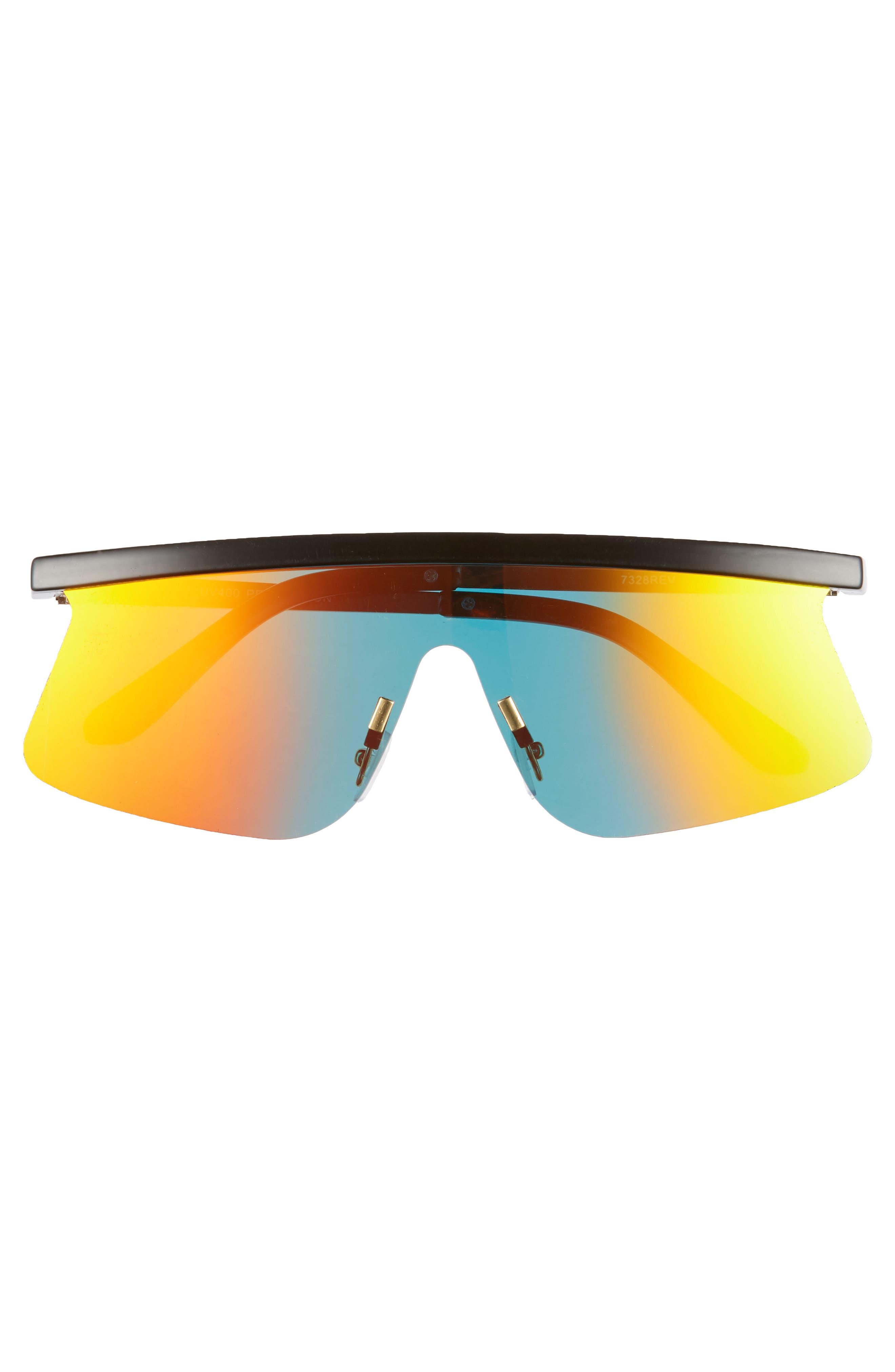 Brow Bar Shield Sunglasses,                             Alternate thumbnail 3, color,                             BLACK/ ORANGE