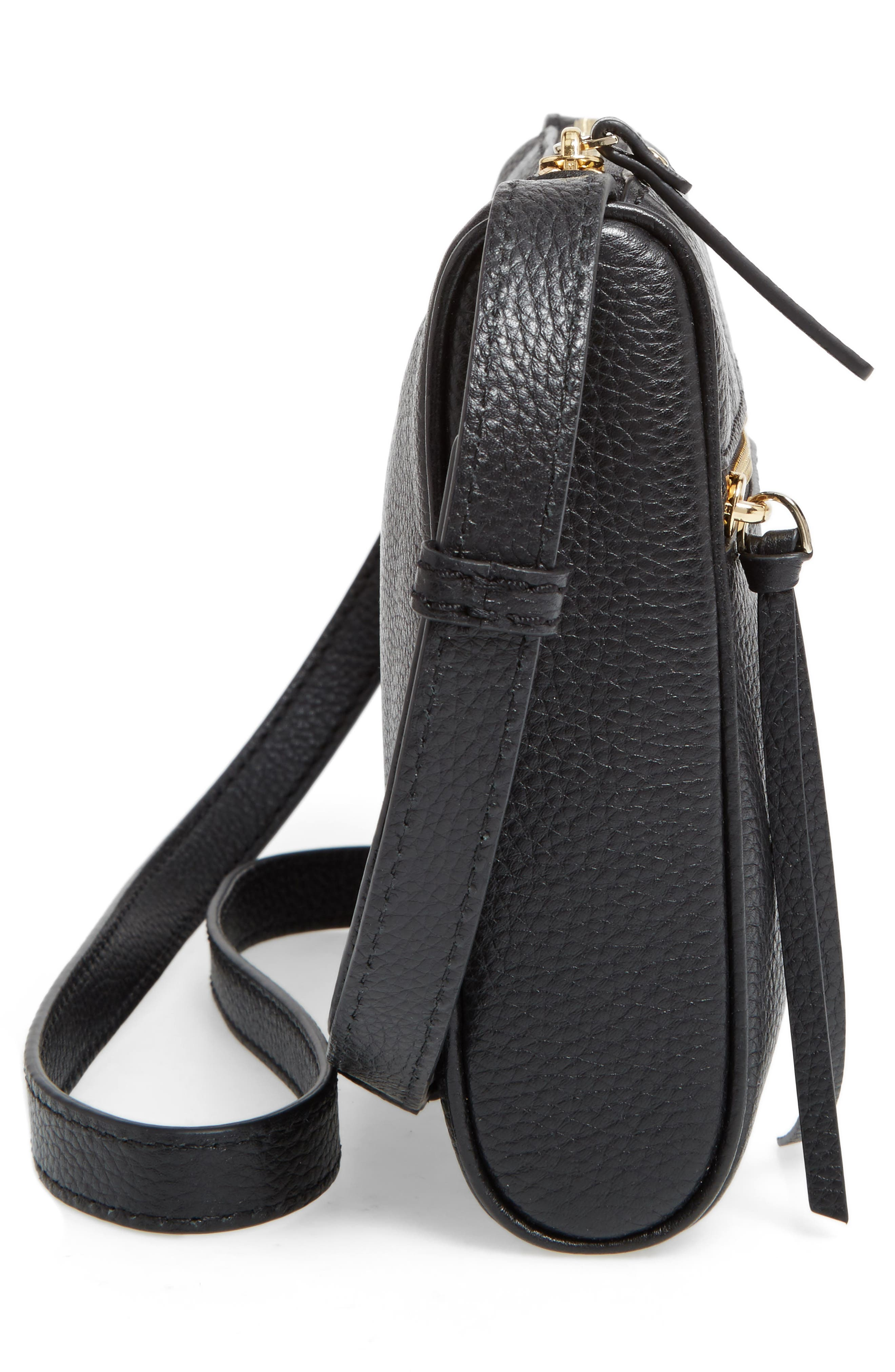 young lane - cayli leather crossbody bag,                             Alternate thumbnail 5, color,                             001