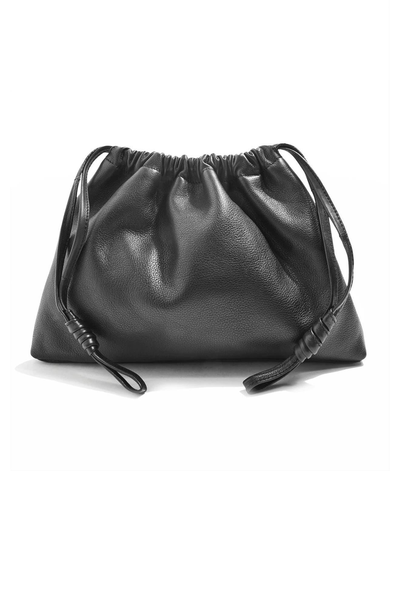 Premium Leather Drawstring Crossbody Bag,                             Alternate thumbnail 4, color,                             001