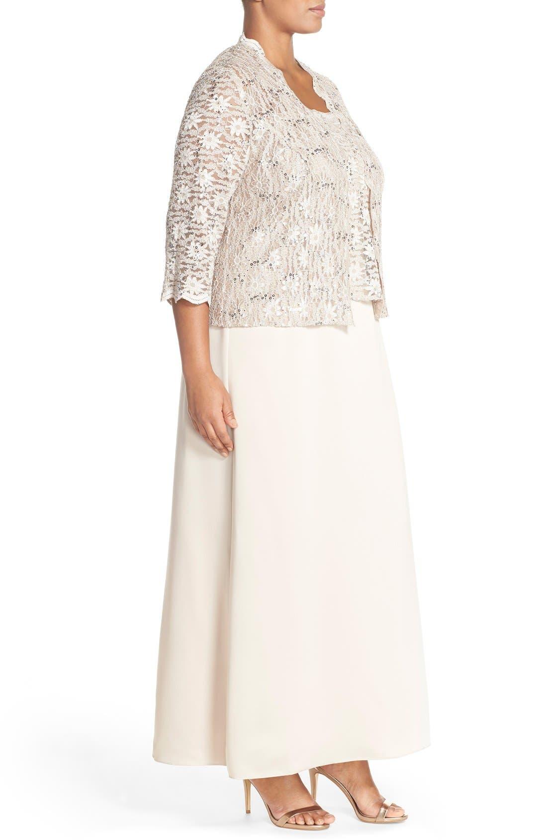 Alex Evening A-Line Gown & Lace Jacket,                             Alternate thumbnail 9, color,