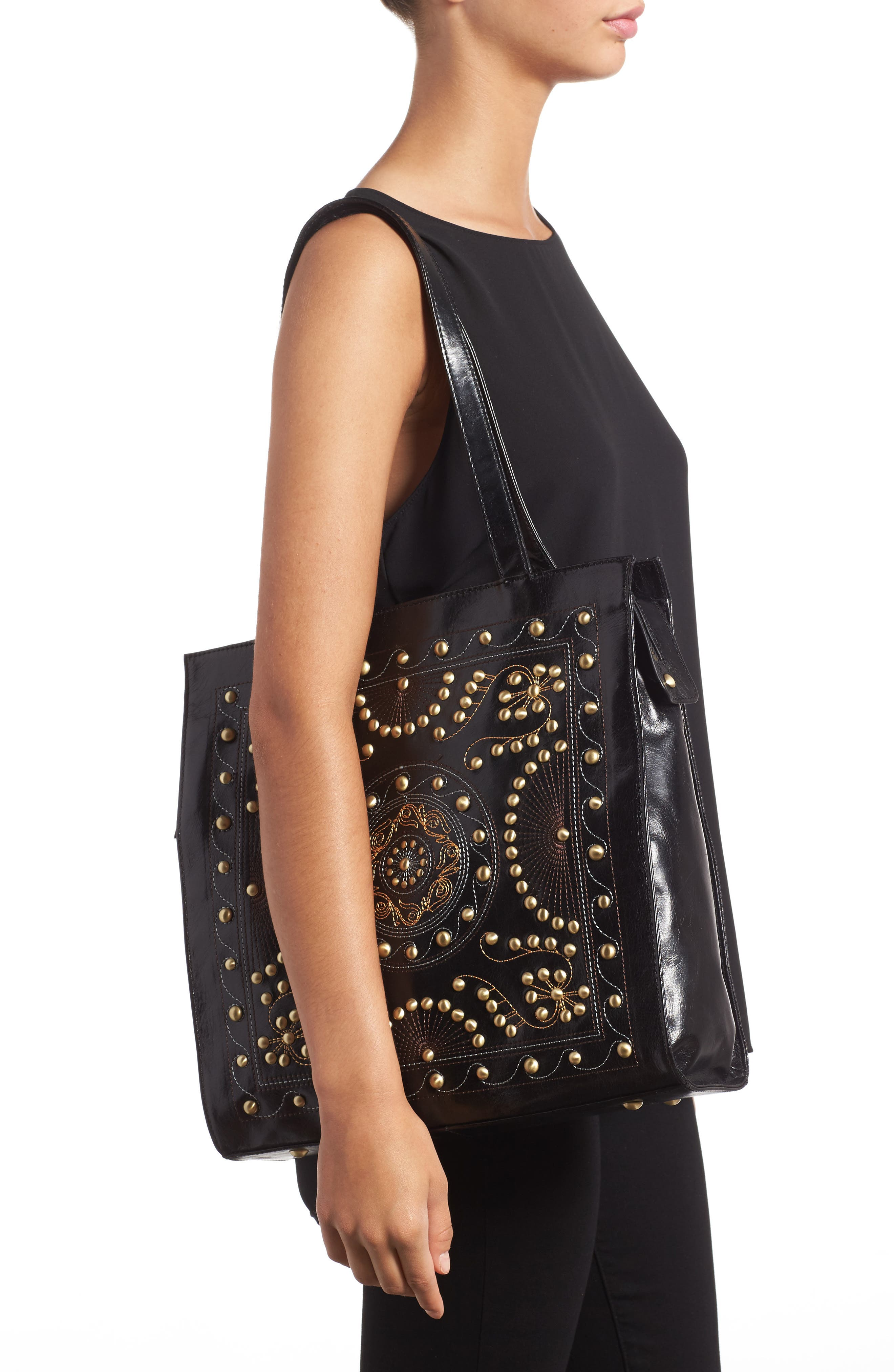 Avalon Studded Calfskin Leather Tote,                             Alternate thumbnail 5, color,