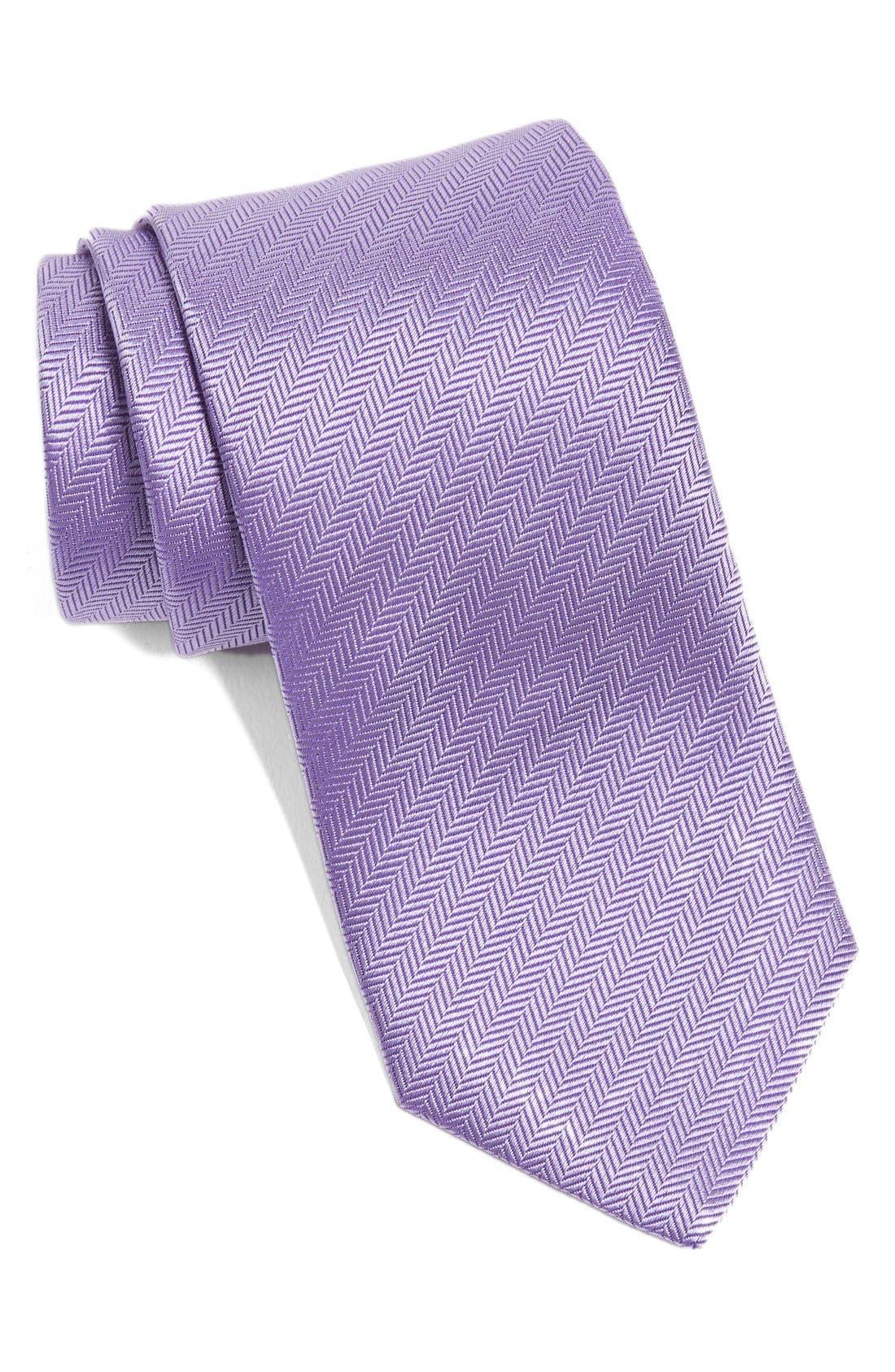 Herringbone Textured Silk Tie,                             Main thumbnail 1, color,                             LAVENDER