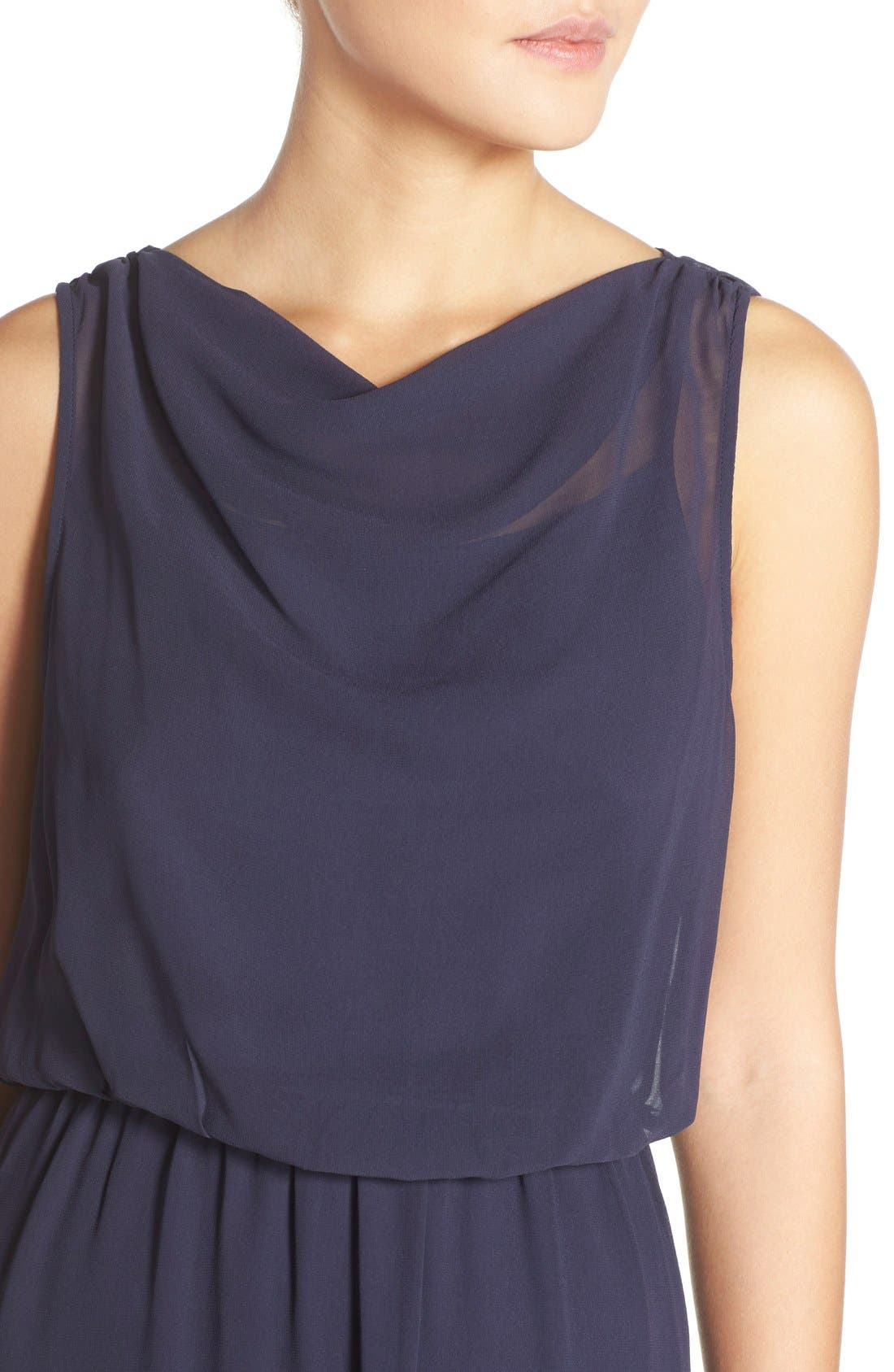 by Lauren Conrad 'Springfield' Cowl Neck Chiffon Gown,                             Alternate thumbnail 4, color,                             410