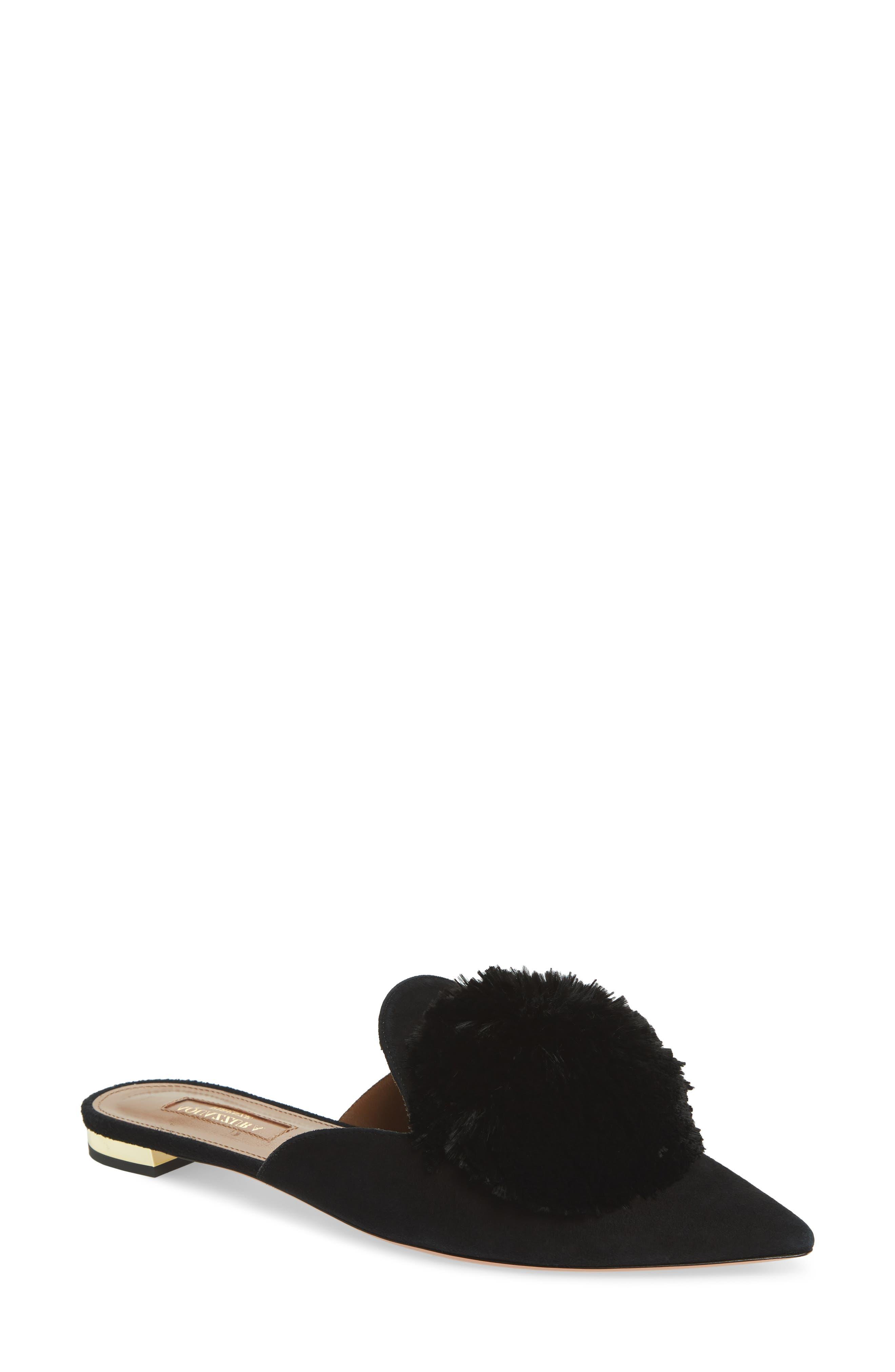 Powder Puff Mule,                             Main thumbnail 1, color,                             BLACK